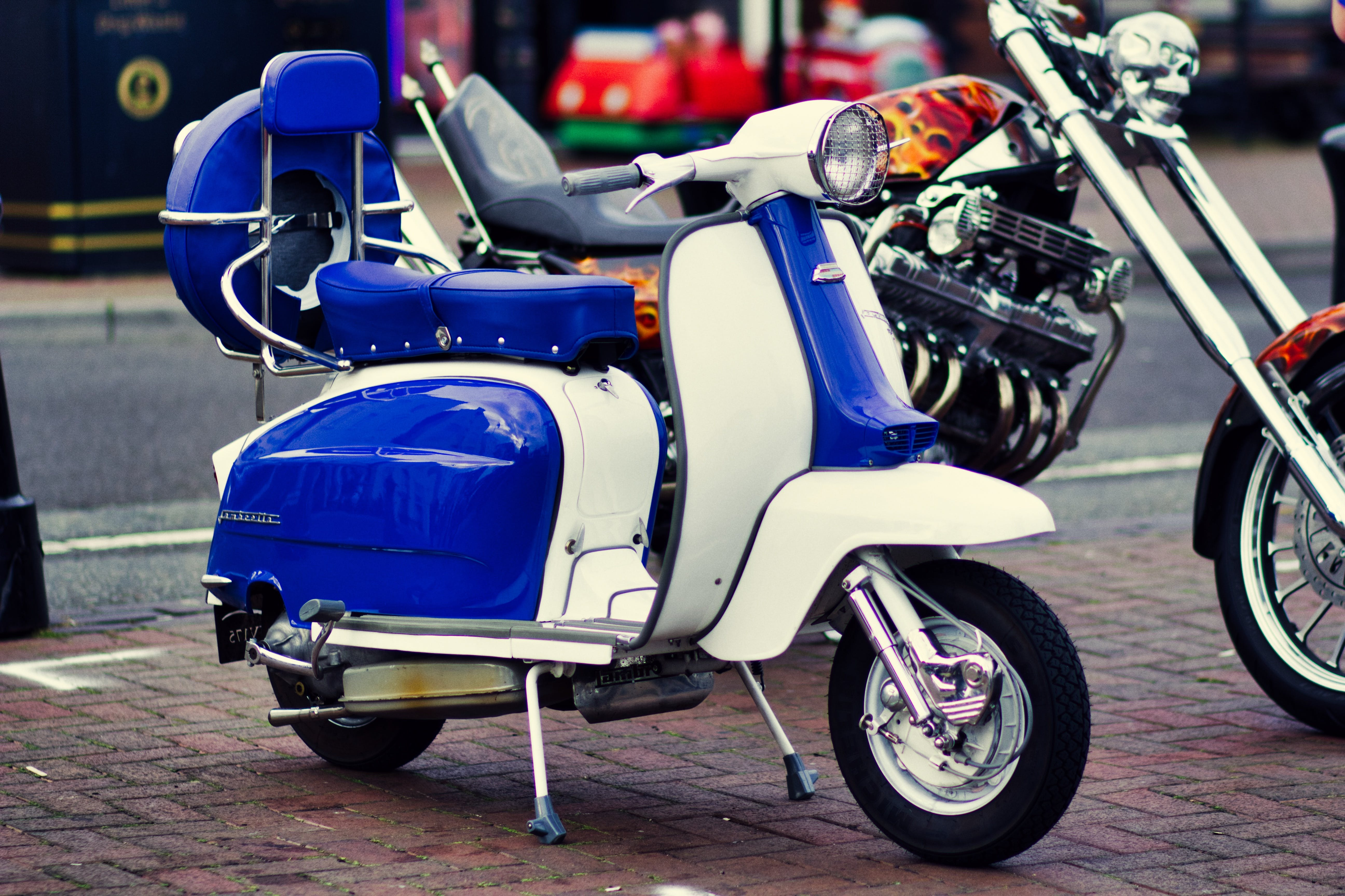 Free stock photo of street, blue, summer, motor scooter
