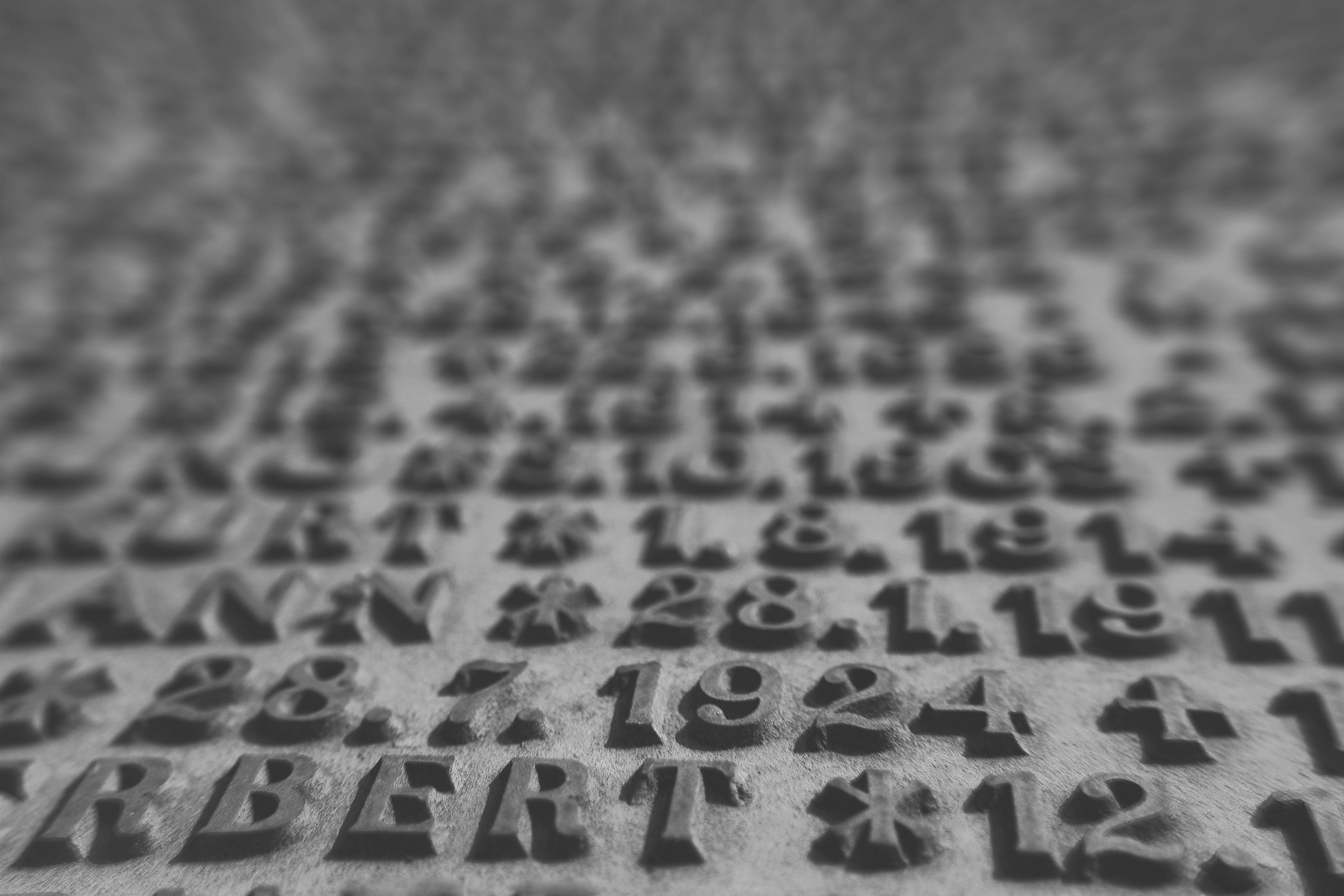 Free stock photo of black and white, letters, macro
