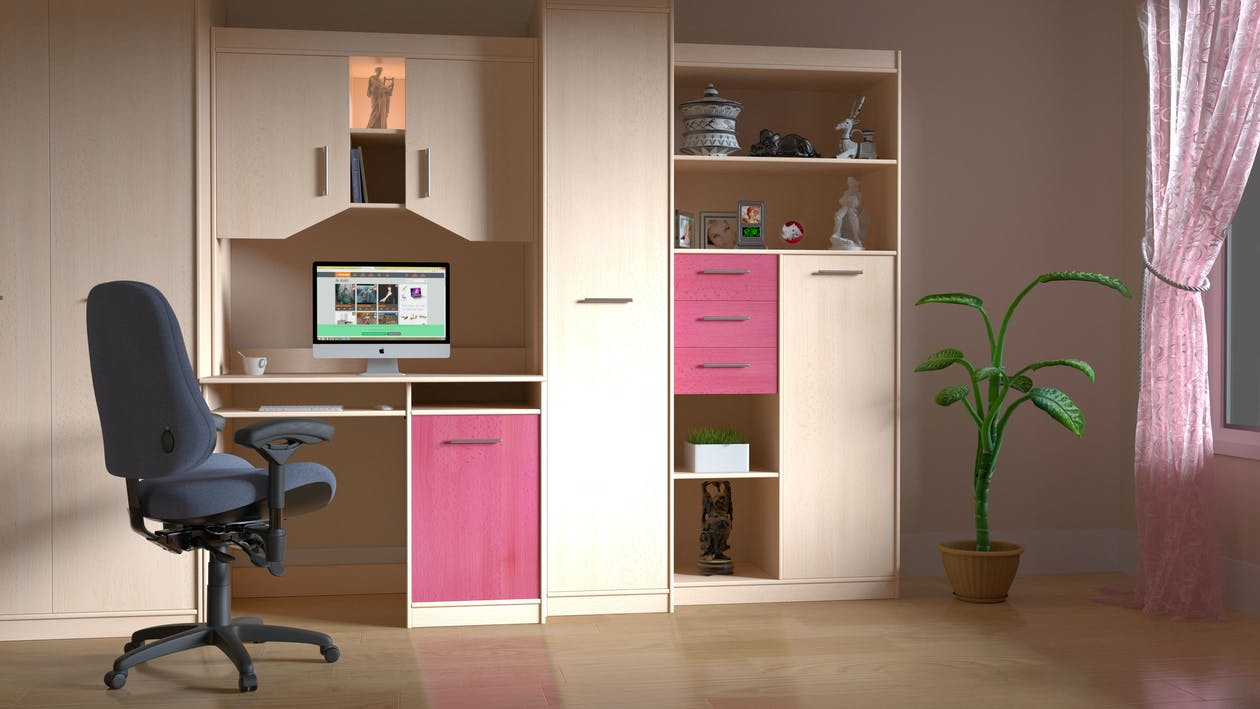 Pink and Brown Wooden Computer Desk Hutch