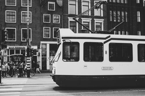 Grayscale Photo of a Tram