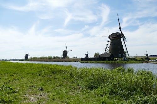 Imagine de stoc gratuită din ape calme, atracție turistică, kinderdijk, moară