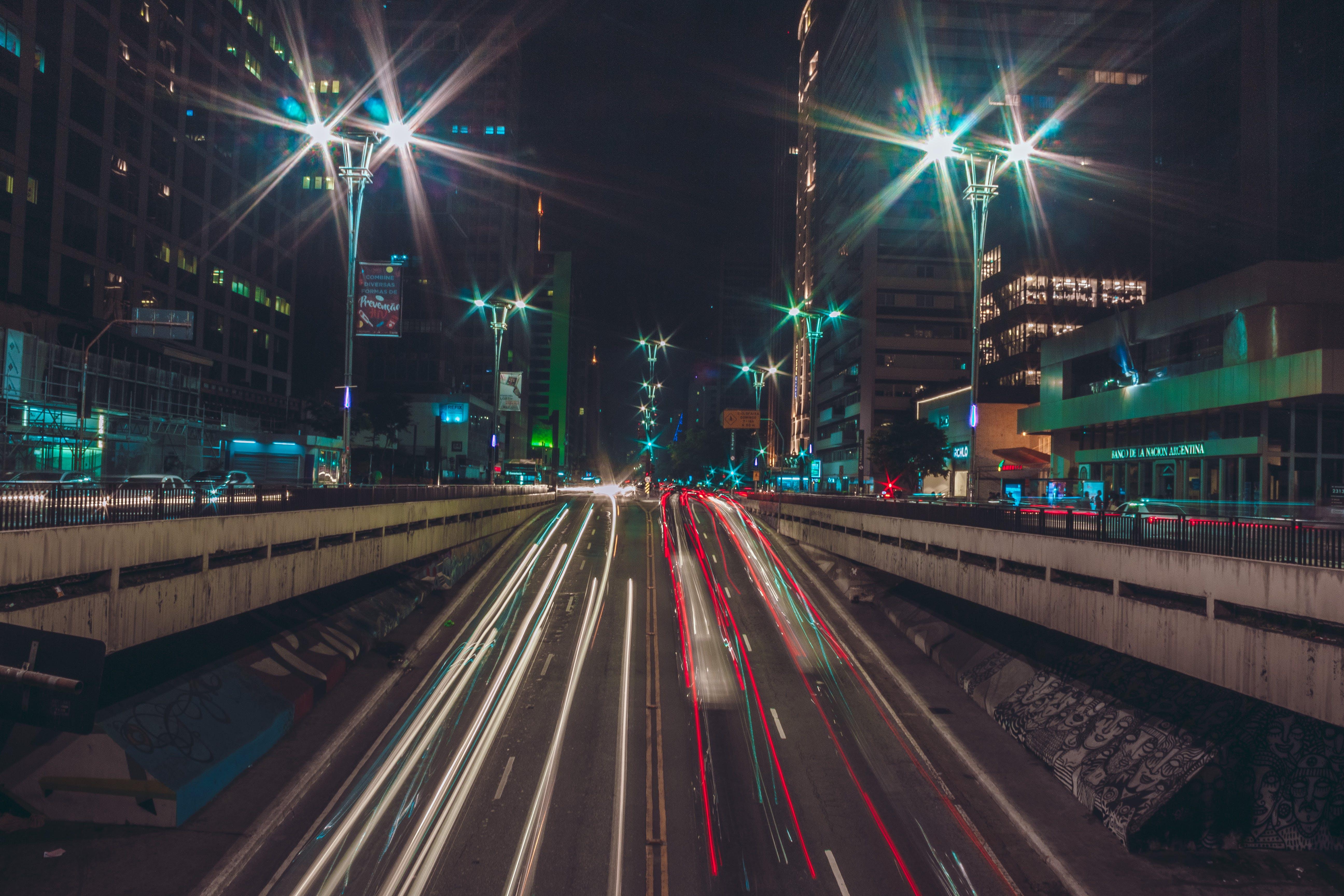 Free stock photo of lights, night, street, dark