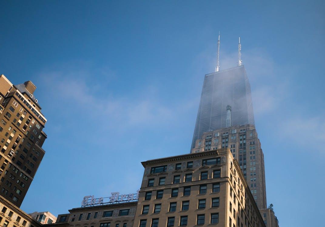 высокий, голубой, здание