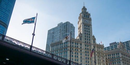 다리, 블루, 시카고, 열렬한 건물의 무료 스톡 사진