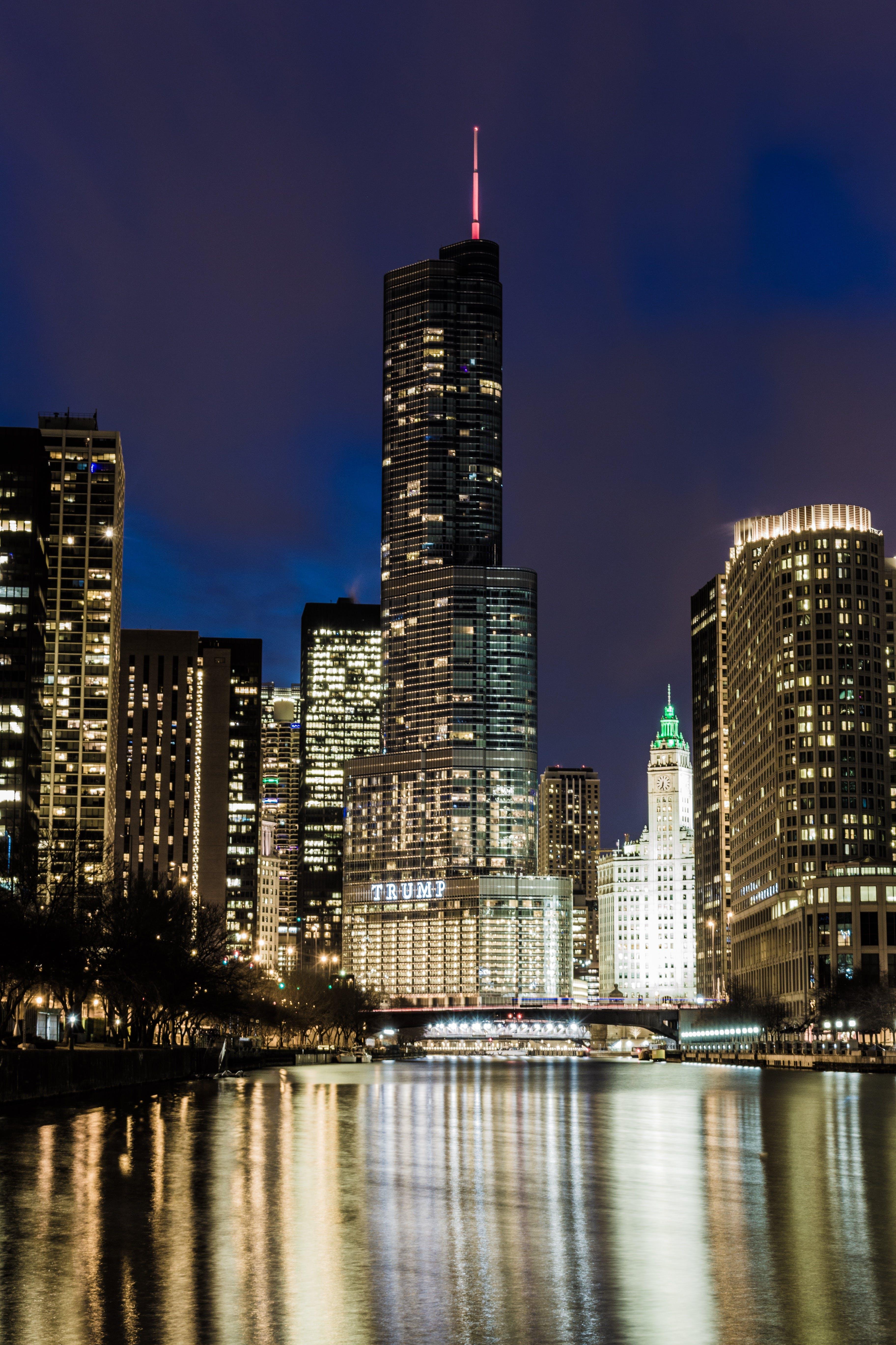 Free stock photo of city, sunset, buildings, purple