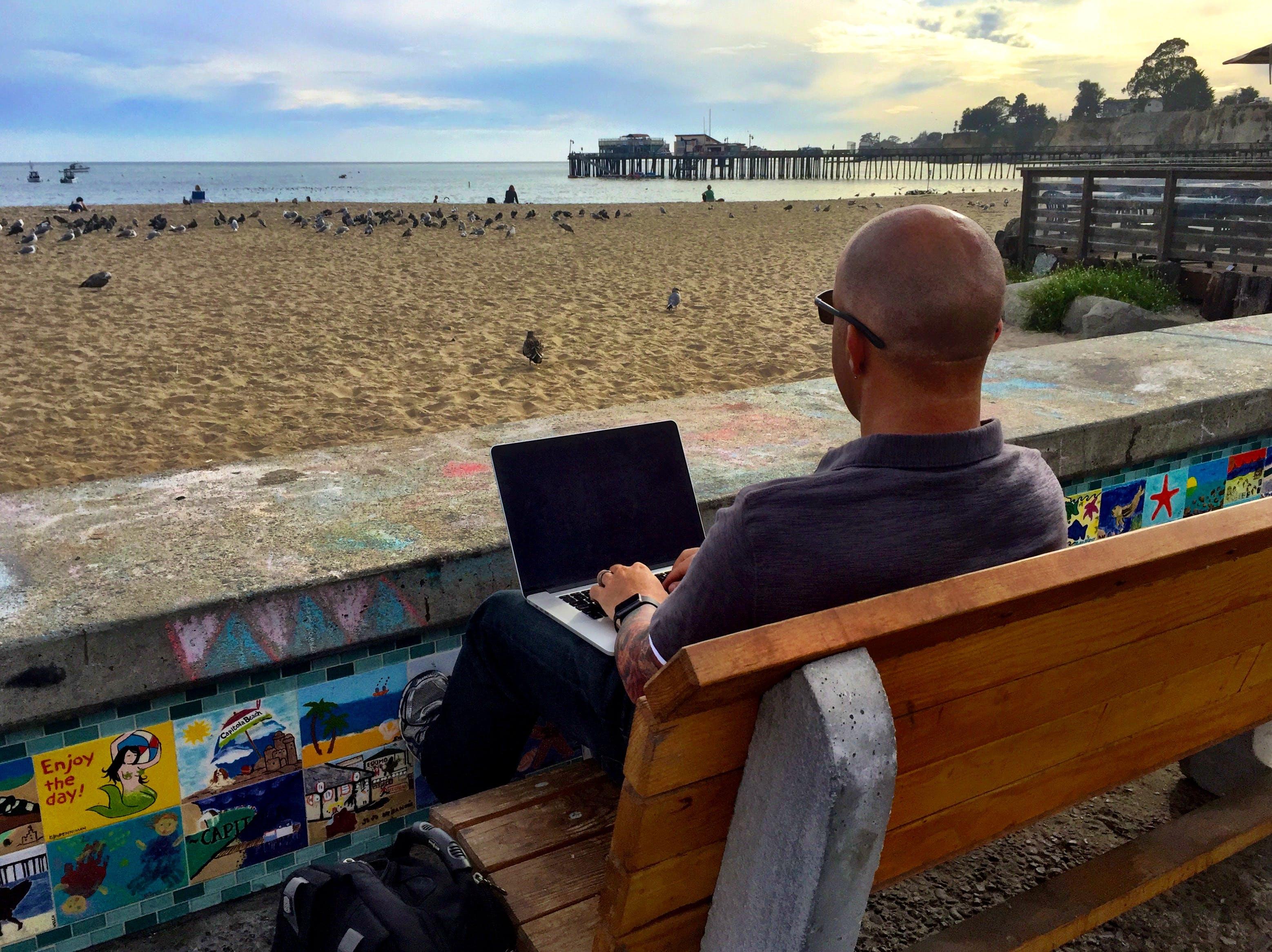 Free stock photo of businessman, beach