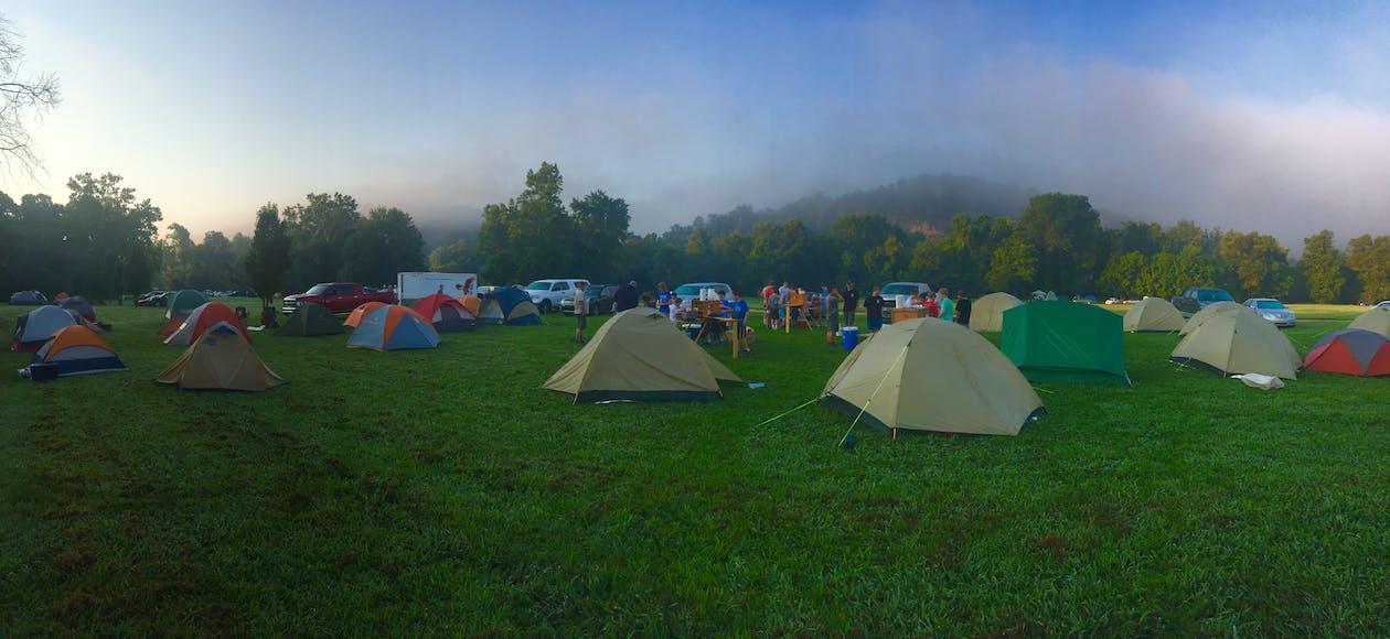 arbori, camping, cer