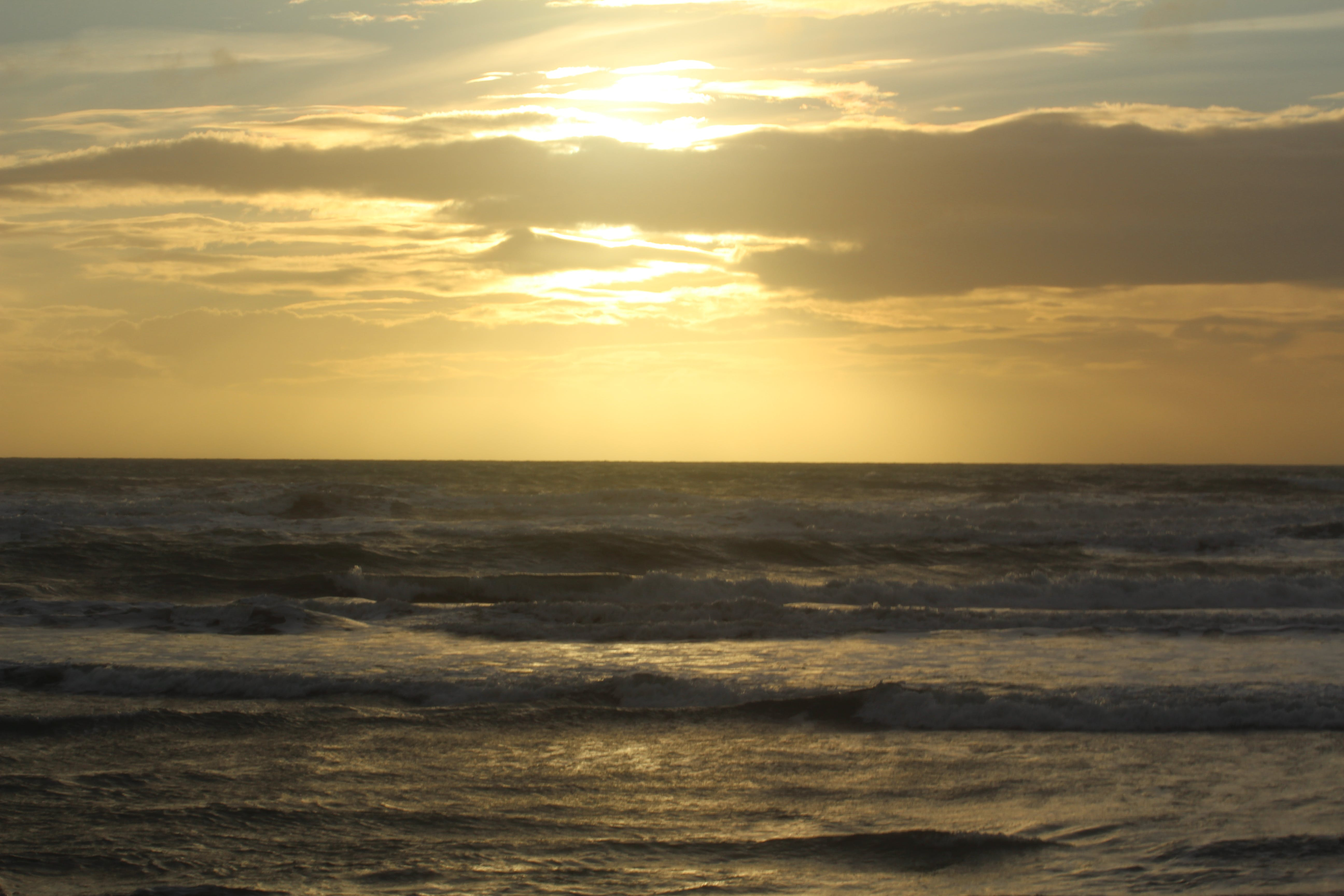 Free stock photo of sea, clouds, waves breaking, #sunset