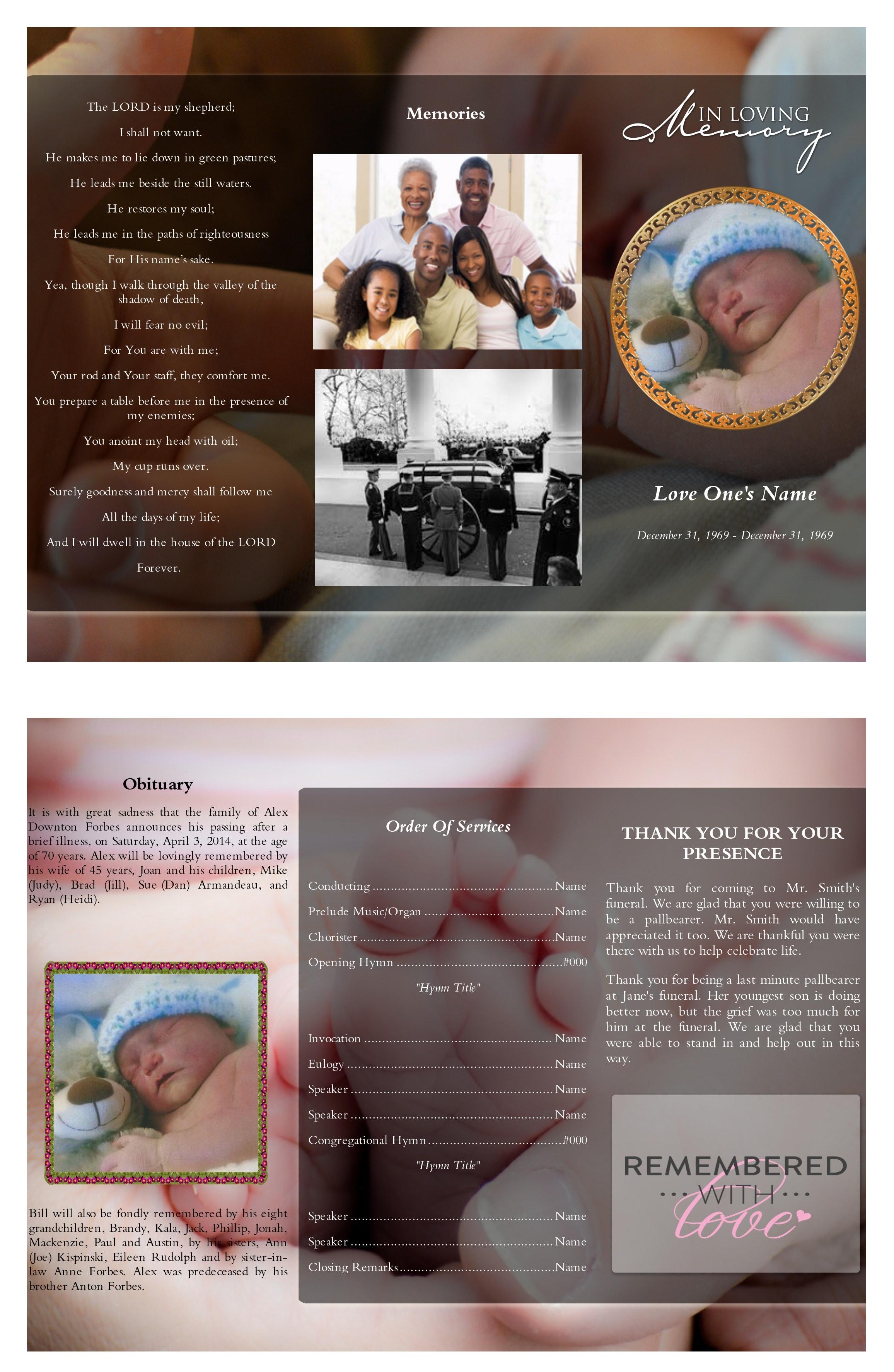 Kostenloses Foto zum Thema: kleinkind trifold beerdigung programm ...