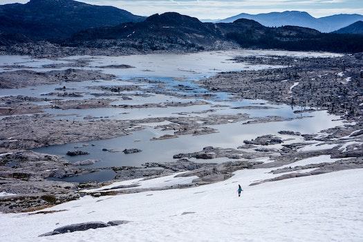 Person Walking on Snowy Field