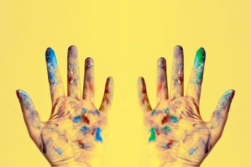 創作的, 塗料, 弄髒, 手 的 免费素材照片