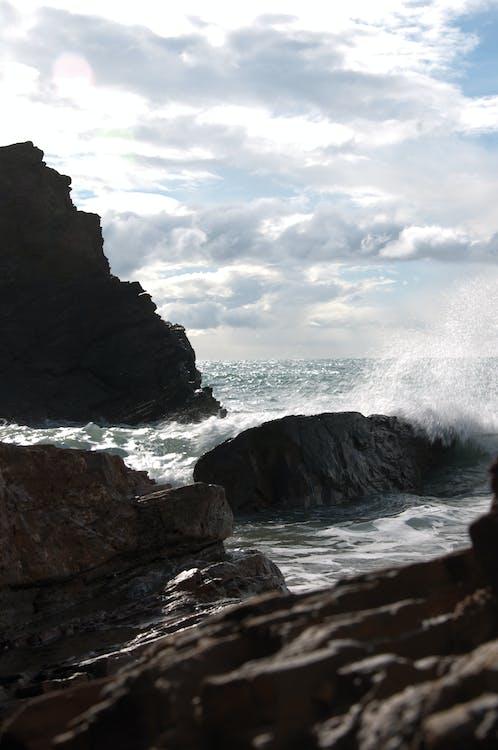 costa, nube, orilla del mar