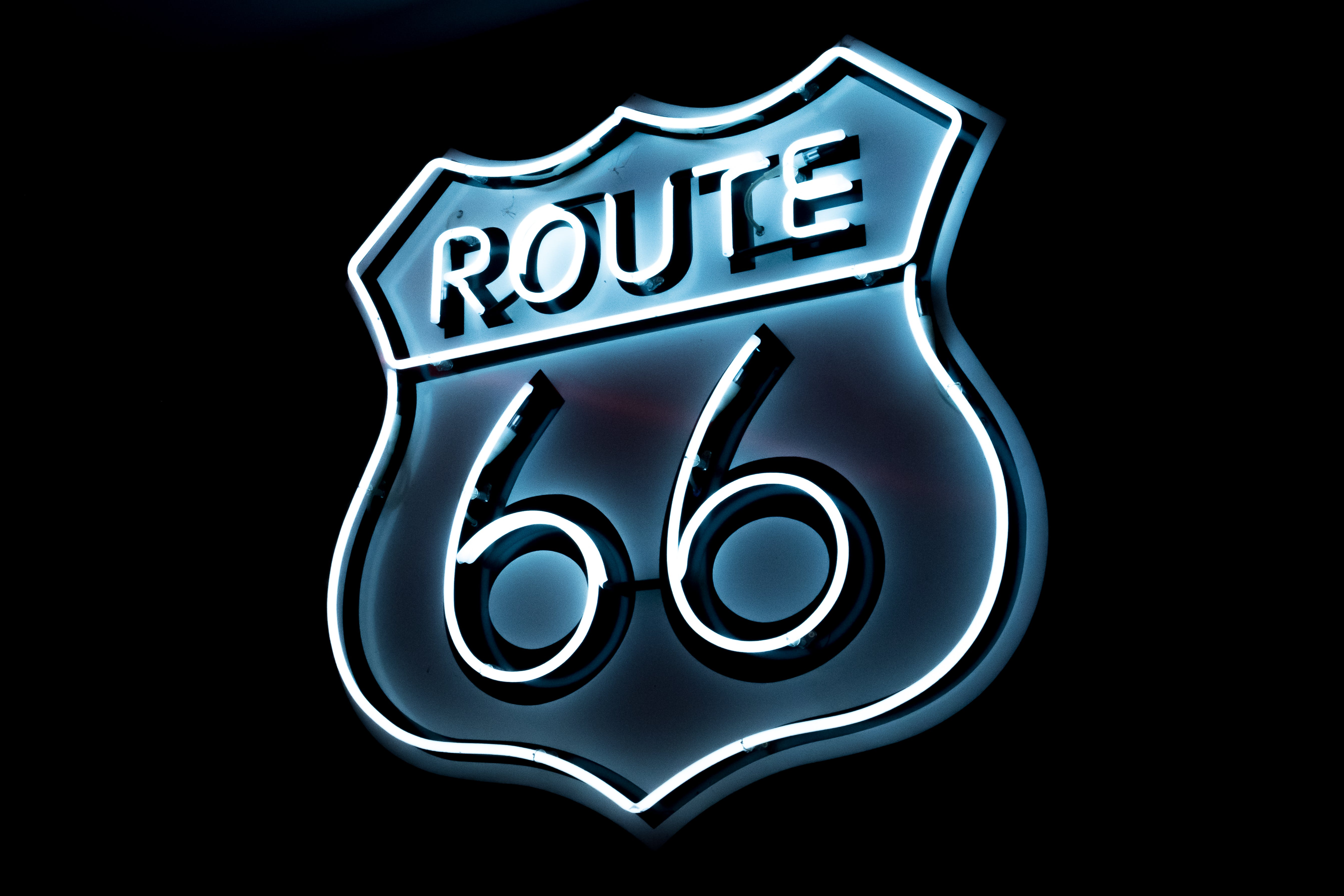 White and Blue Route 66 Logo