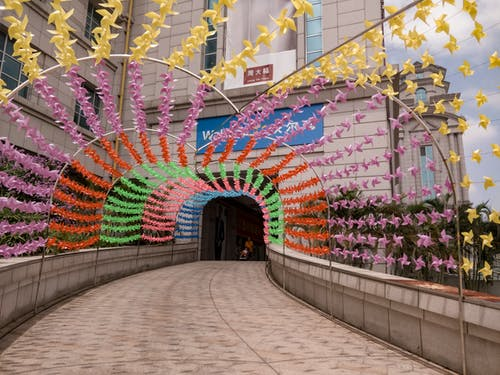 Free stock photo of entry, passage, pinwheels, rainbow