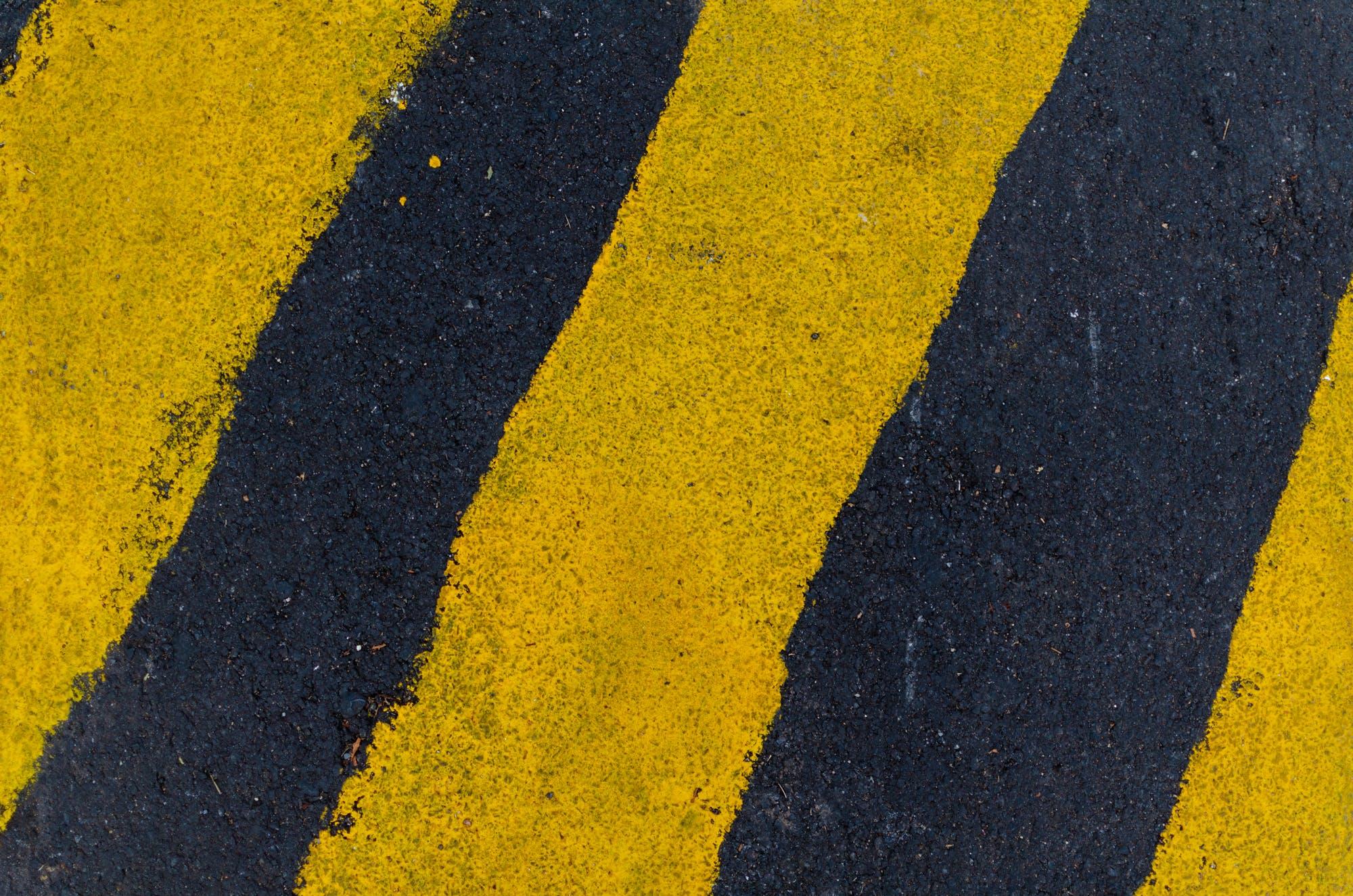 Yellow and Black Pedestrian Lane