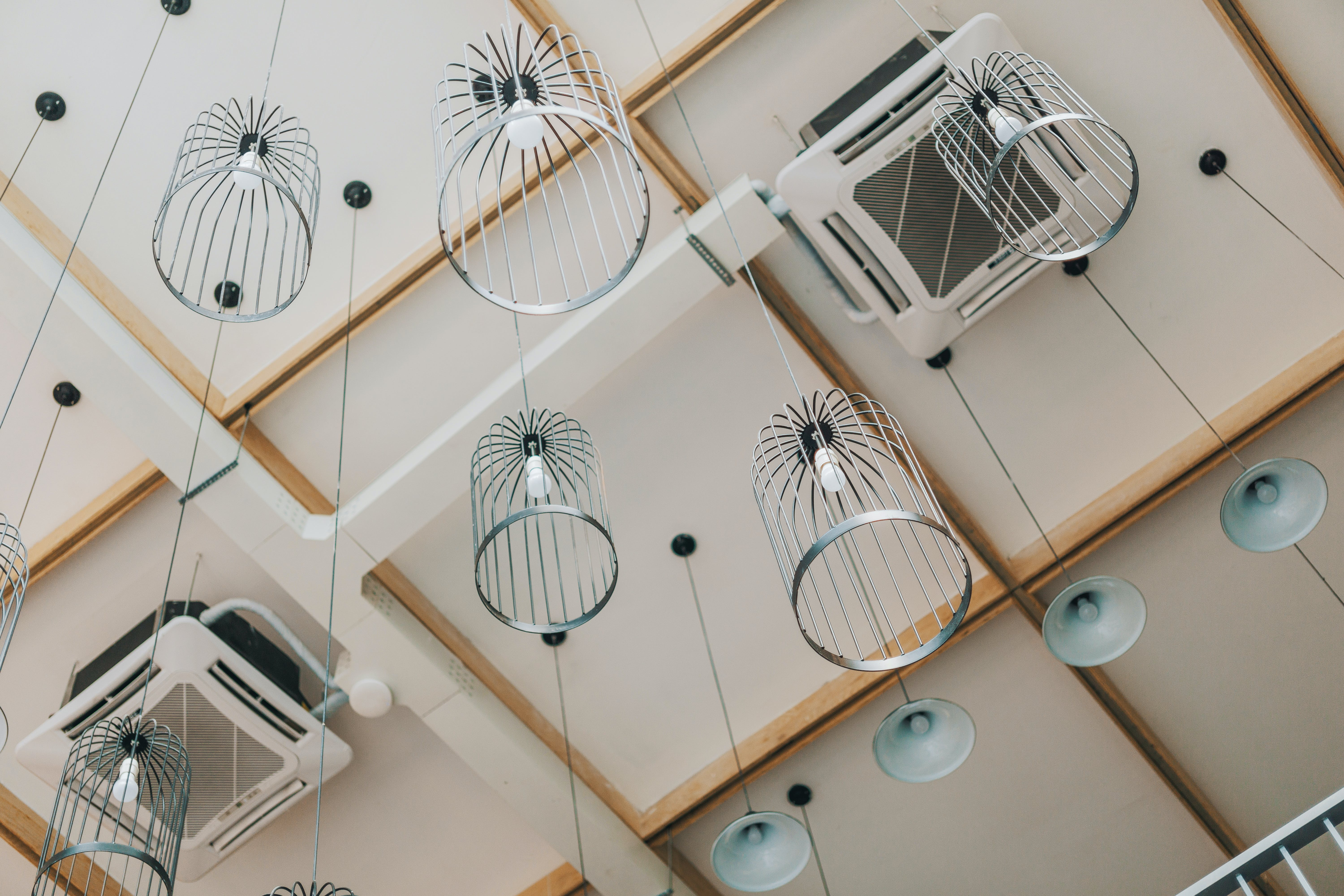 Low-angle Photography of Pendant Lamps Hanging from the Ceiling