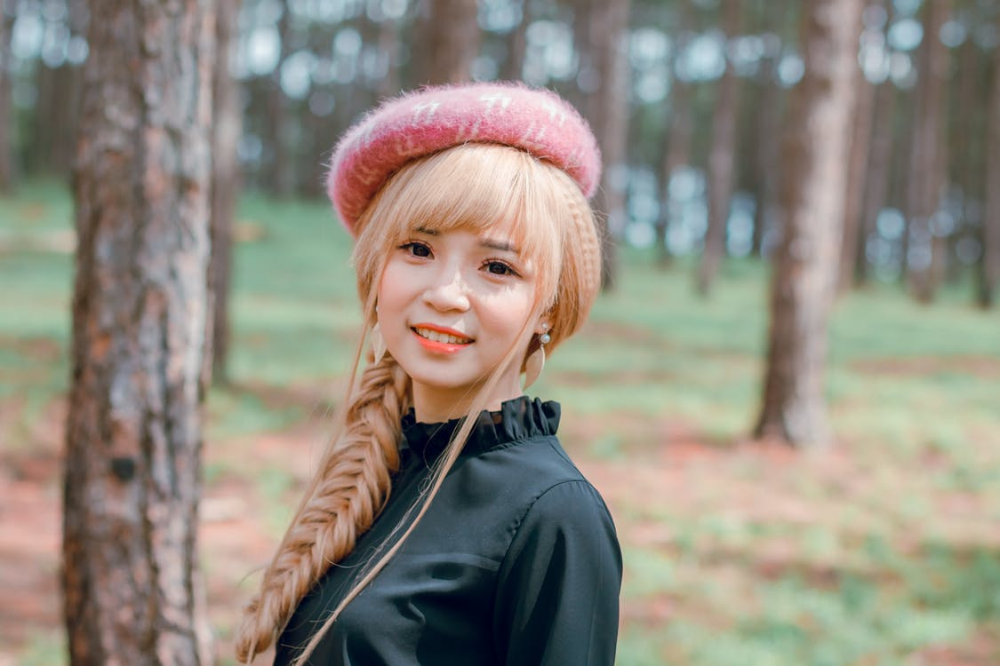 asiàtica, barret, bonic