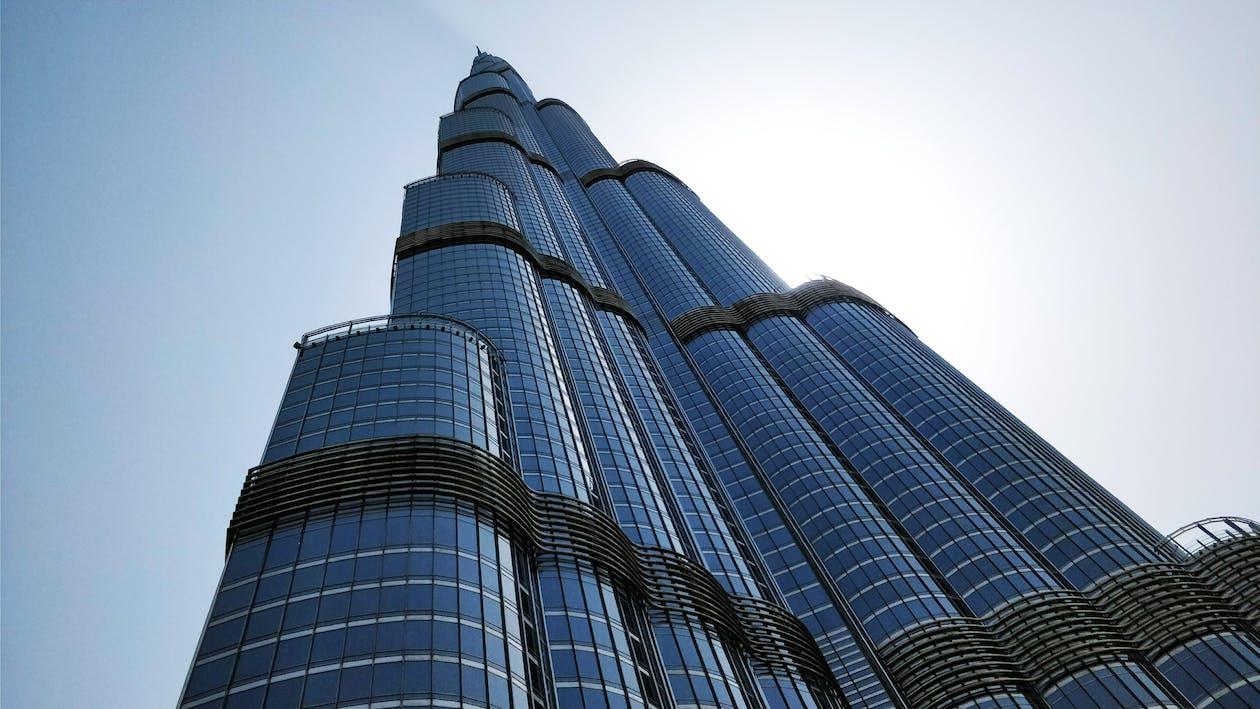 blå himmel, burj khalifa, bygning