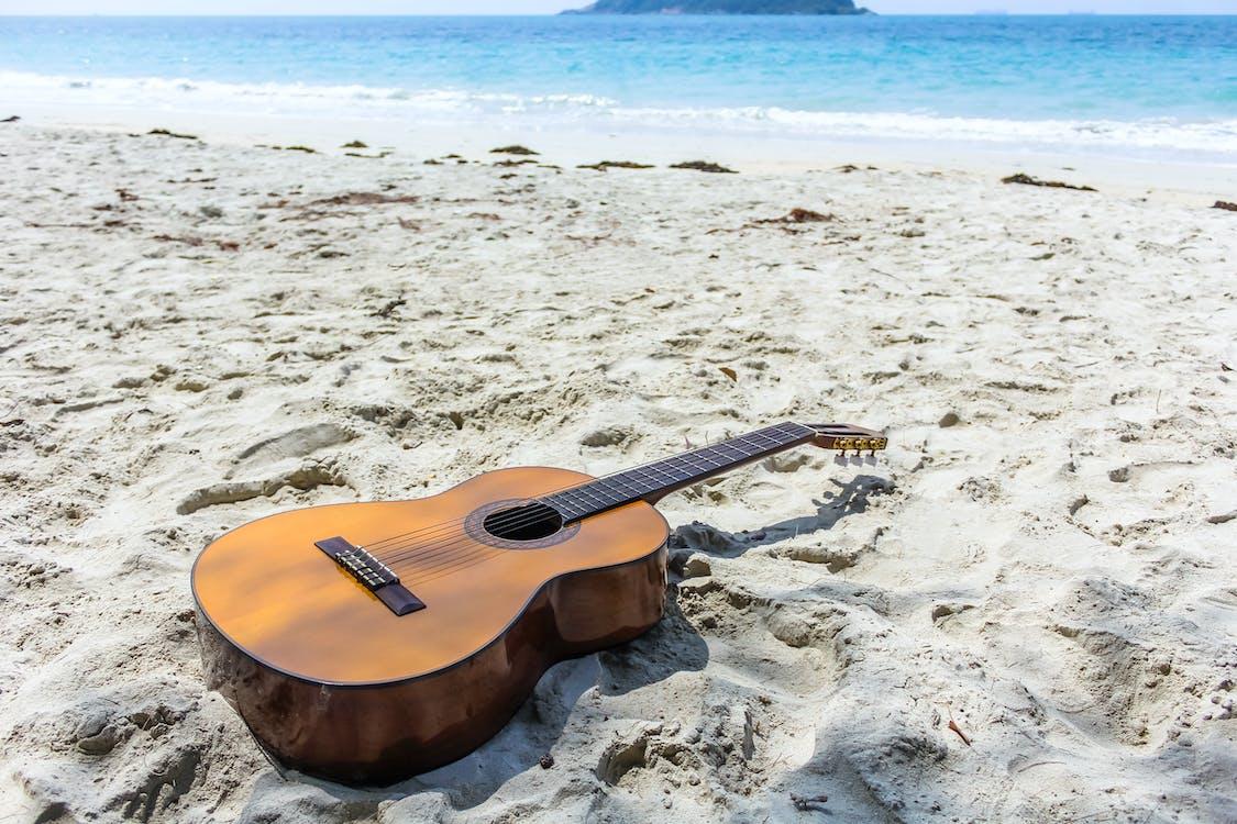 Free stock photo of beach, guitar, music
