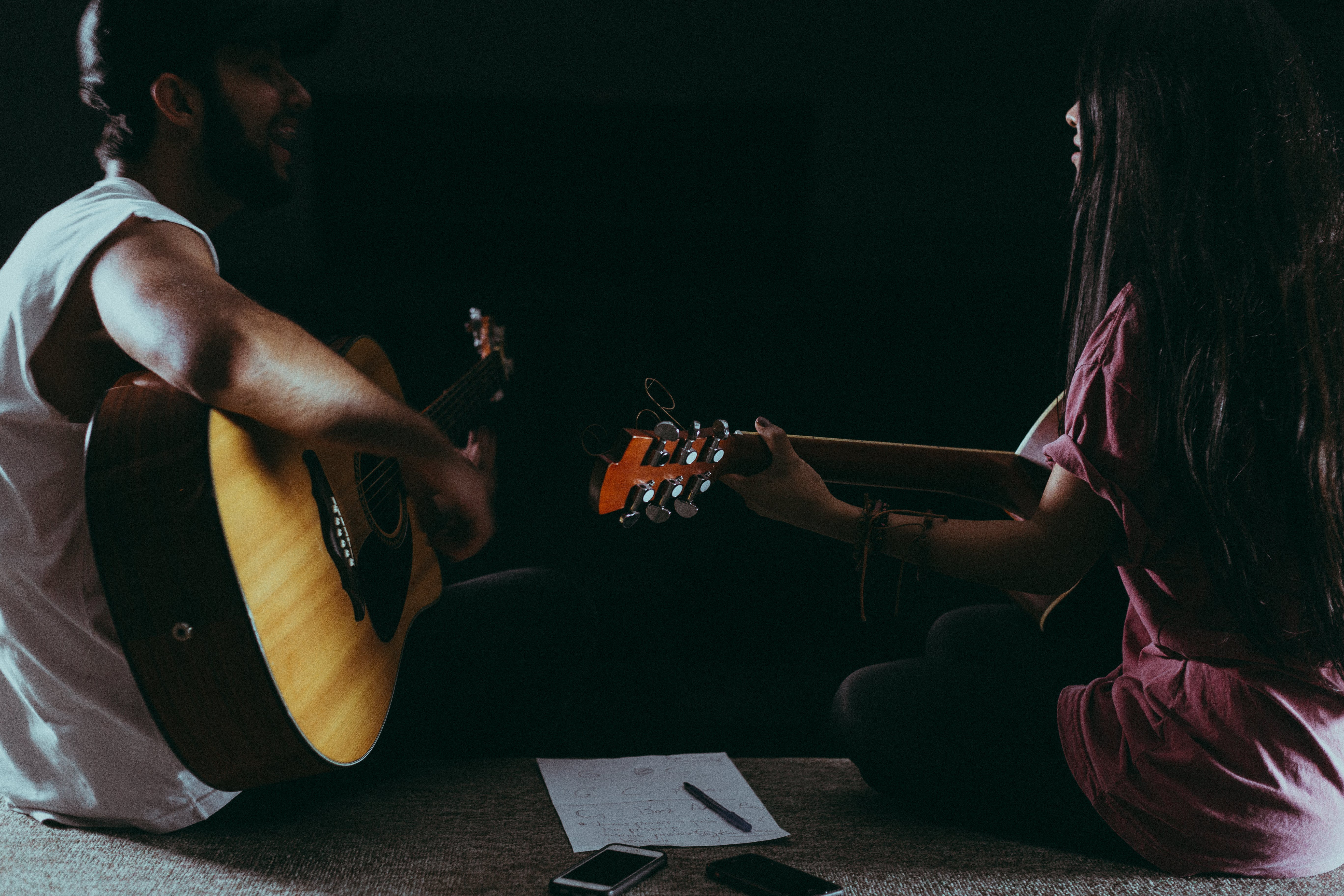 Man and Woman Playing Guitar