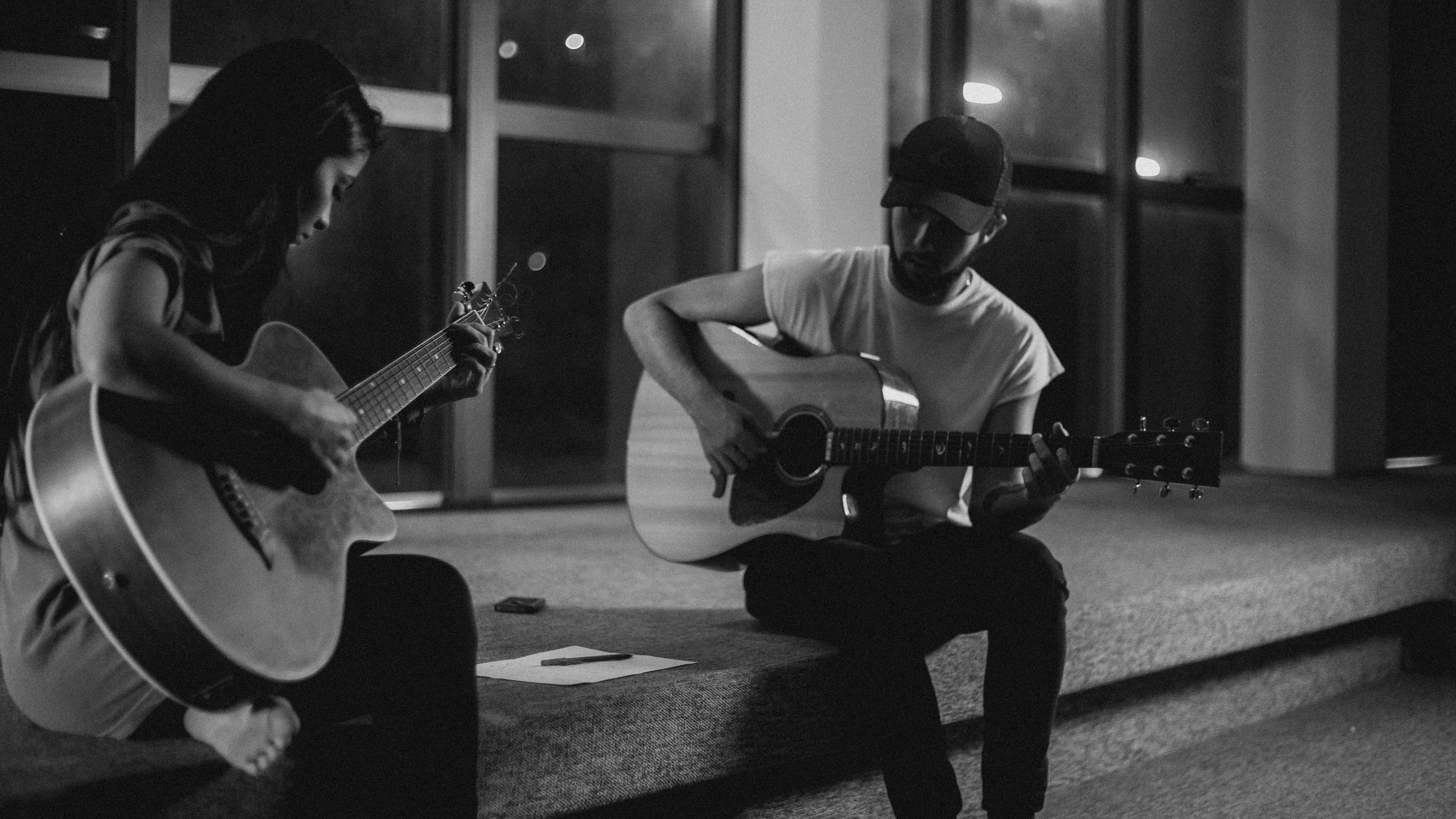 Free stock photo of acoustic guitar, boy, calm lights, candlelight