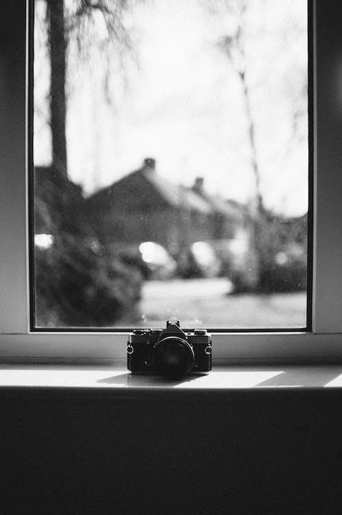 Grayscale Photo of Camera Beside Window