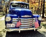 blue, truck, classic car
