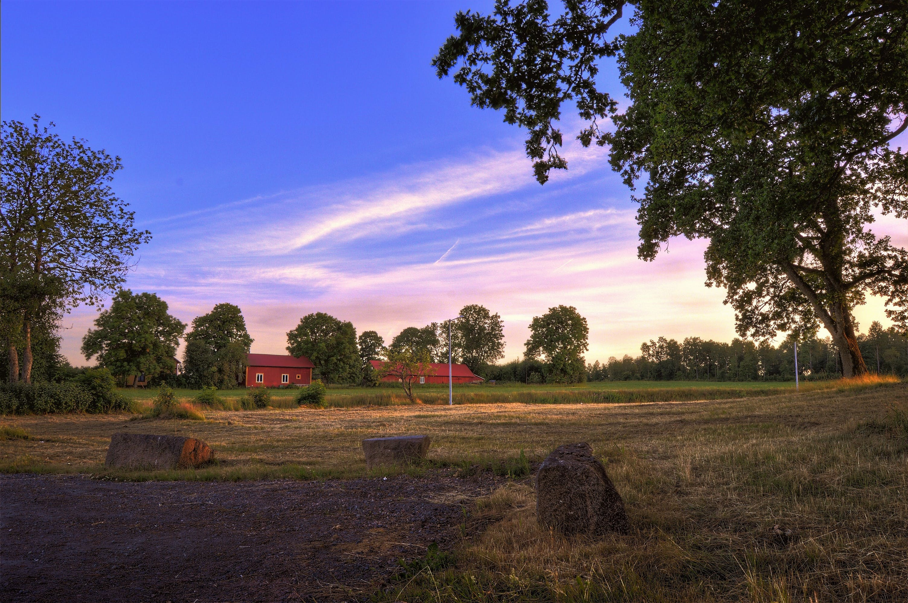 Kostenloses Stock Foto zu außerorts, bauernhof, bäume, dämmerung