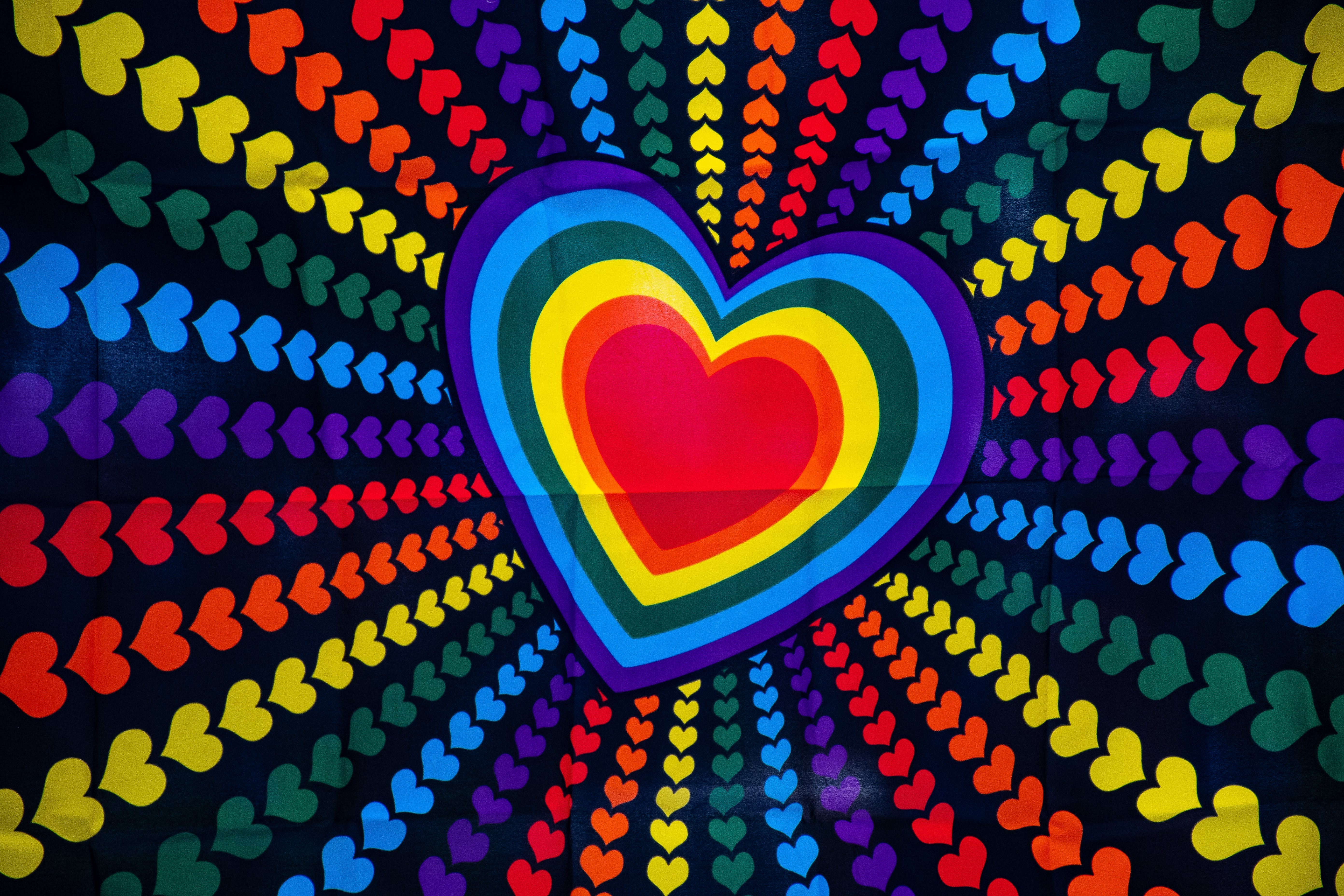 Blue, Purple, Red, and Yellow Heart Printed Poster