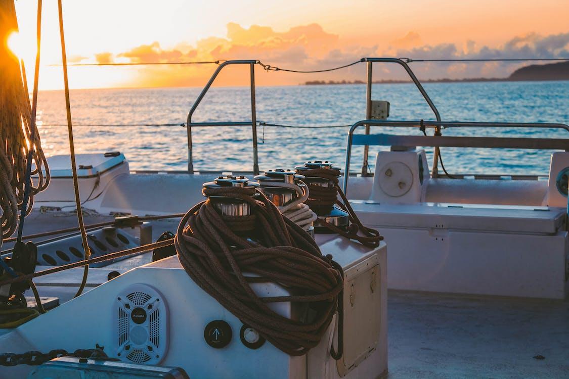 agua, baraja, barca