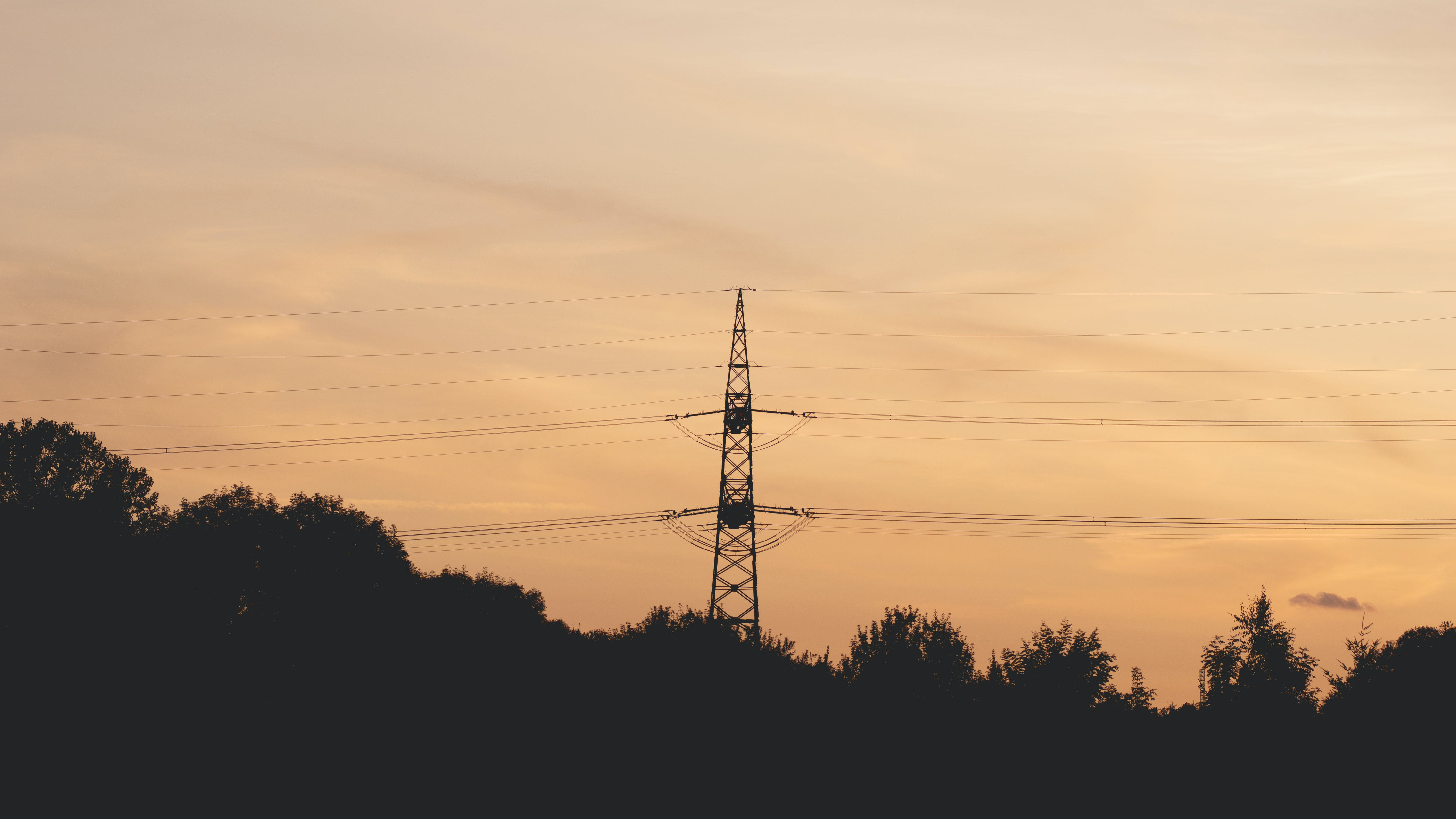 Free stock photo of evening, evening-sky, power lines, utility pole