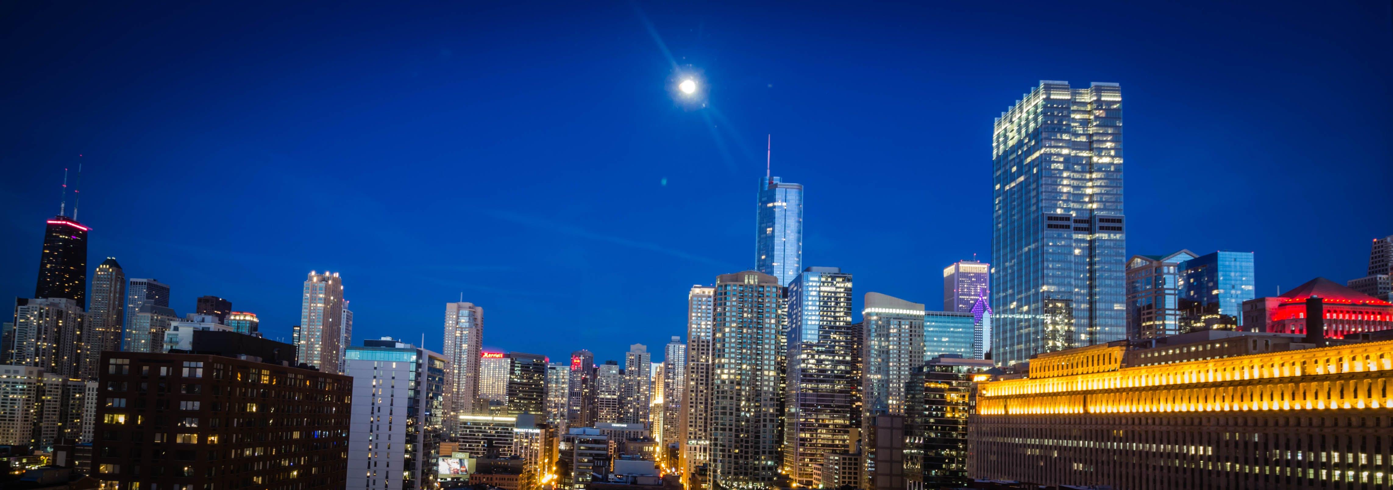 Free stock photo of chicago, city, cityscape, moonlight