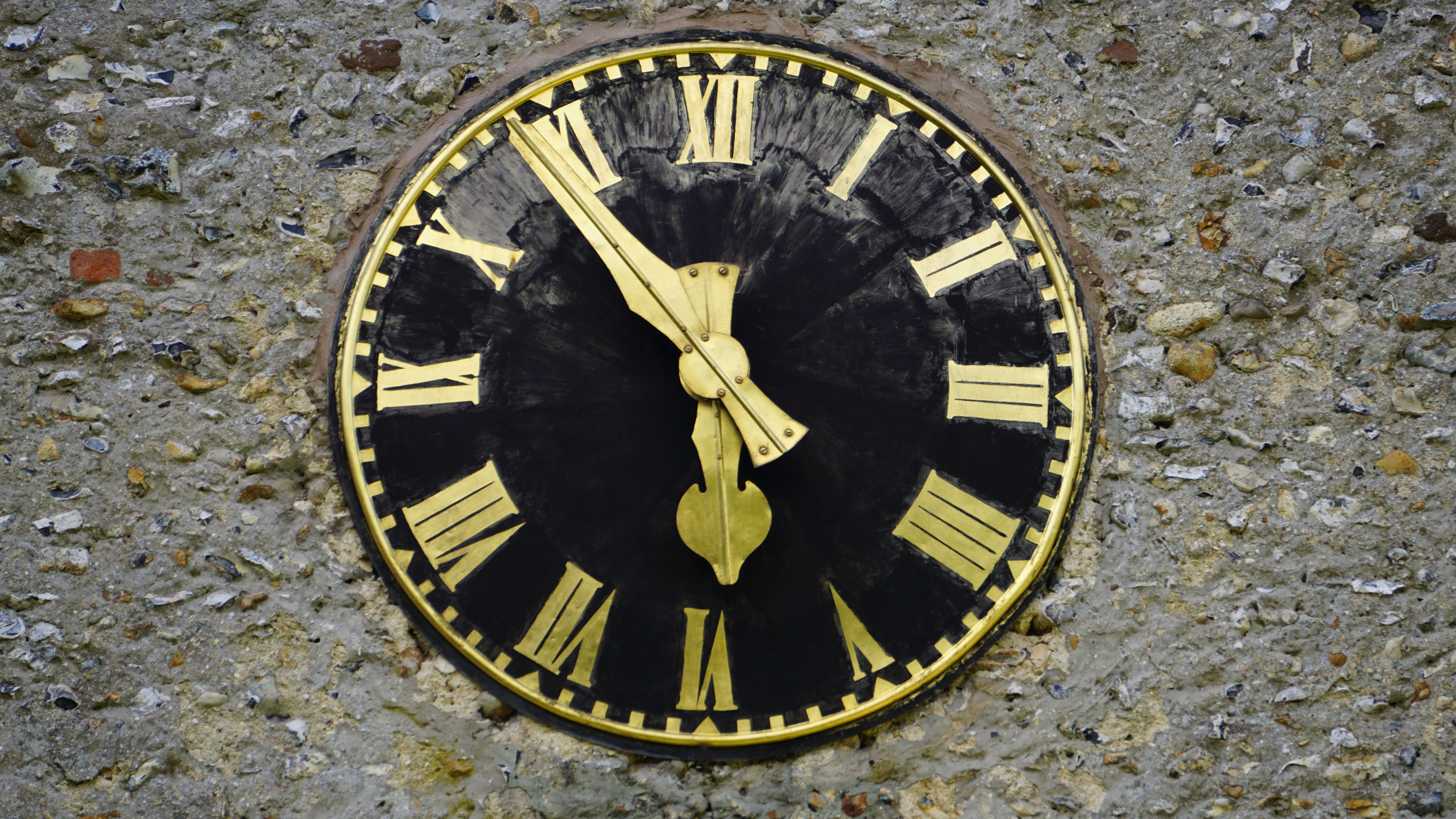 Round Black and Yellow Analog Clock