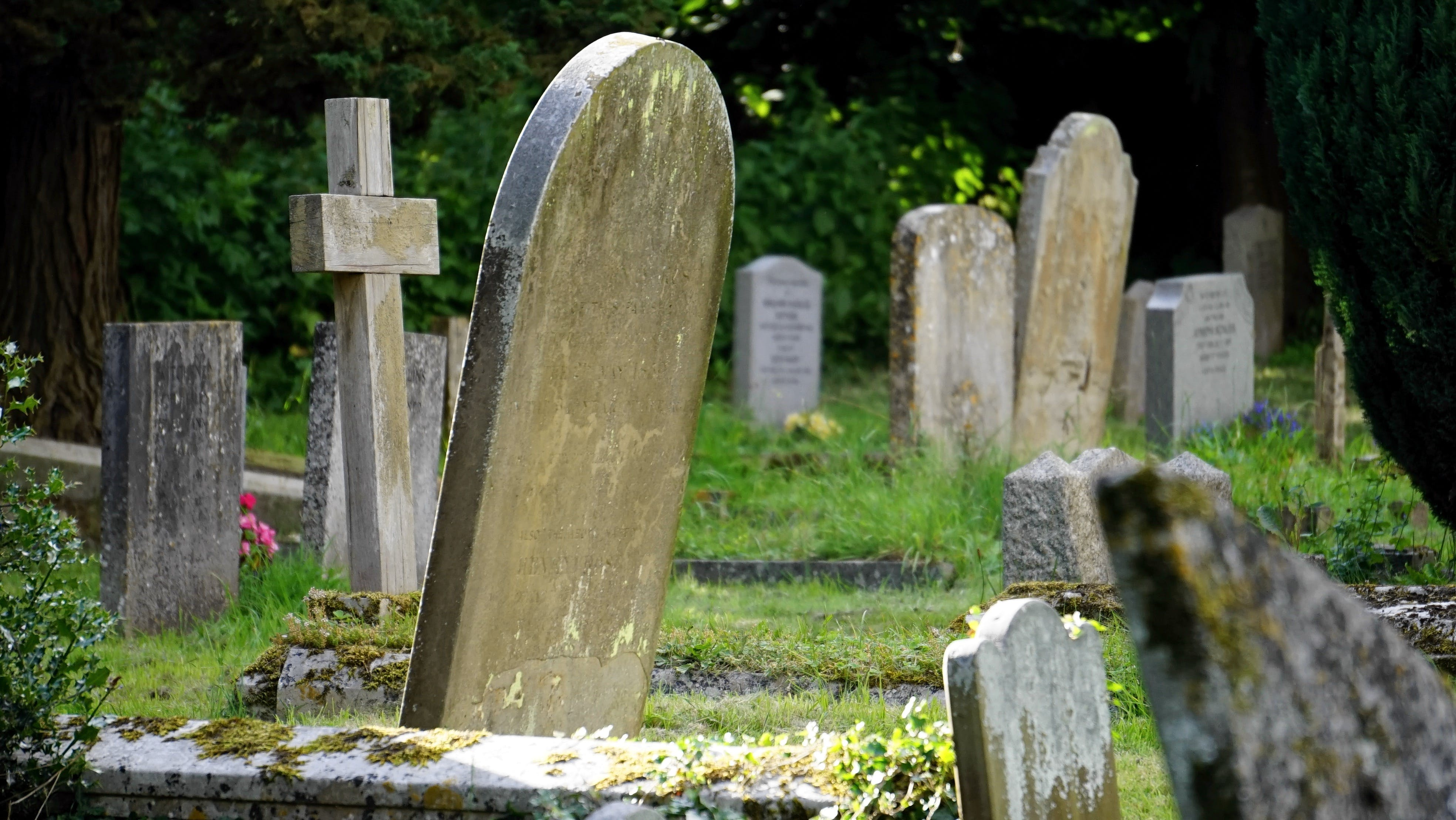 Close-up Photography of Concrete Tombstones
