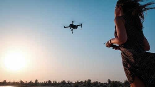 Woman Holding Remote of Drone