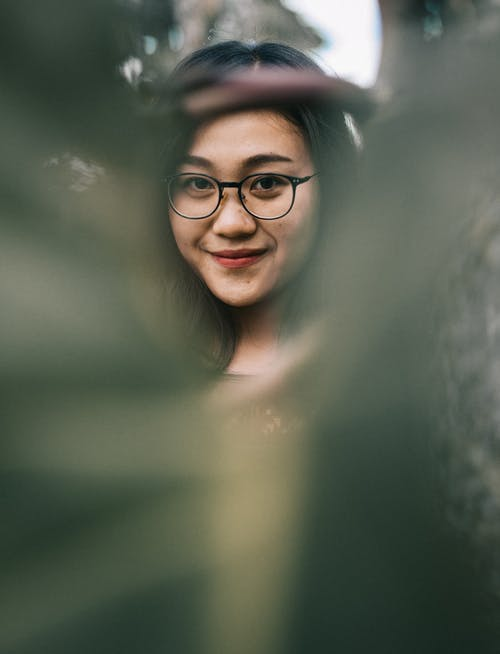 Woman Wearing Eyeglasses With Black Frames