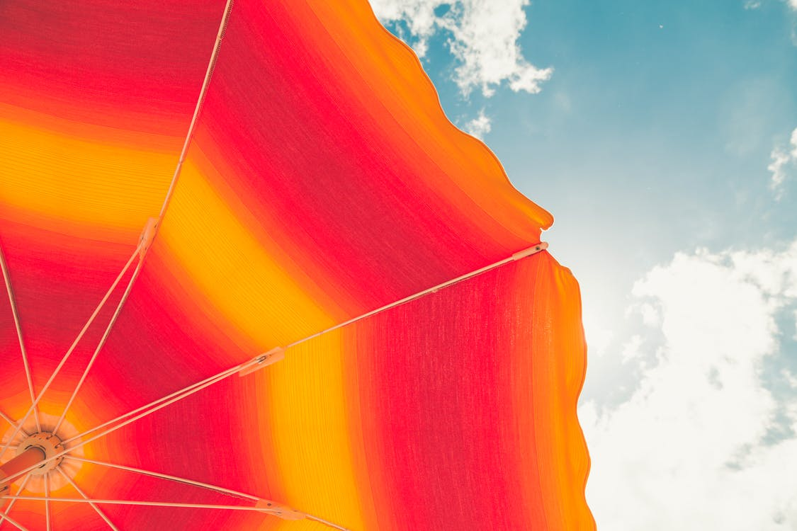 Low Angle Photo of Red and Orange Umbrella