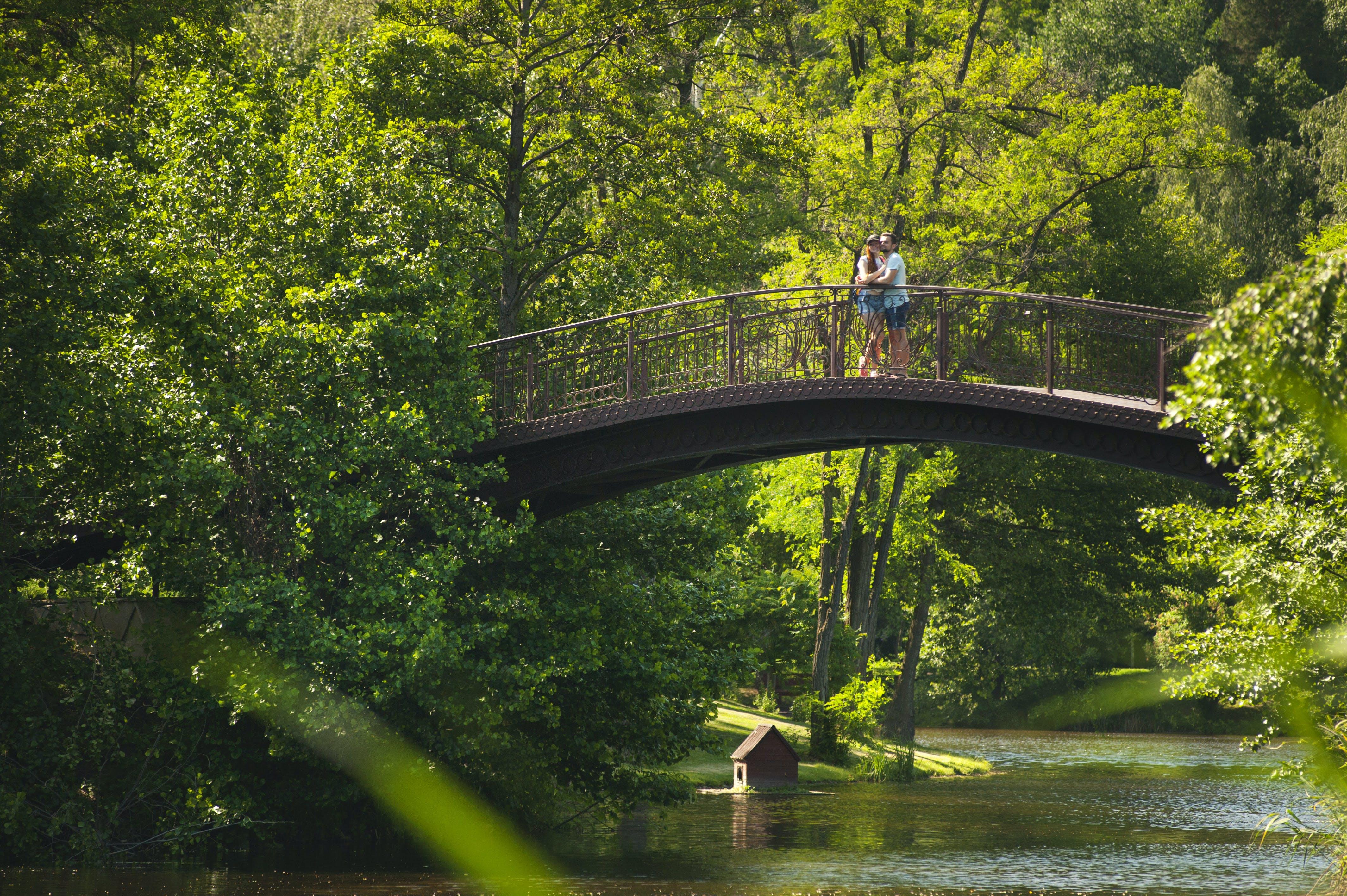 Photo of Couple Hugging on Bridge over River