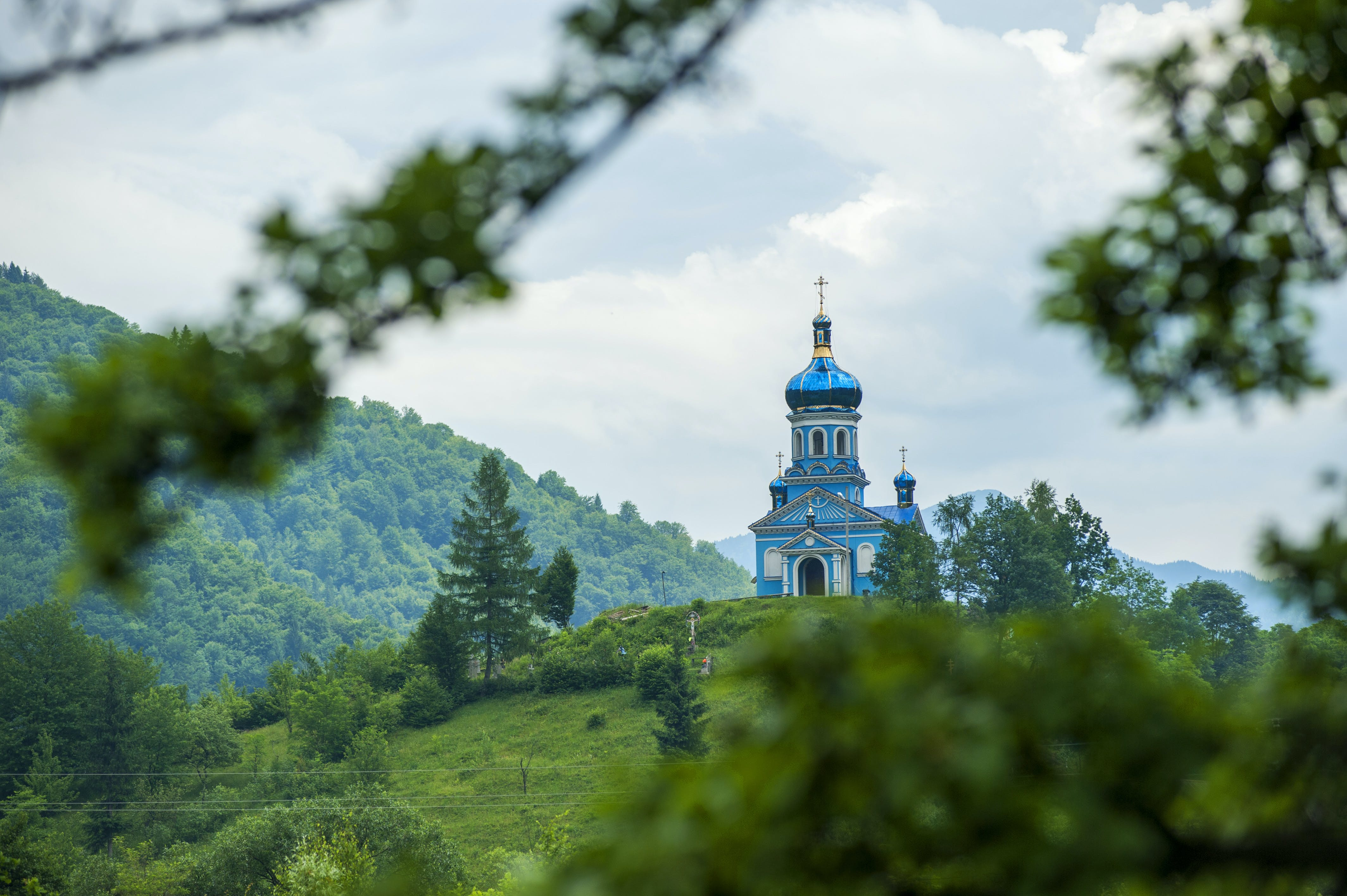 Blue Dome Building Surrounded by Tall Trees Taken Under White Clouds