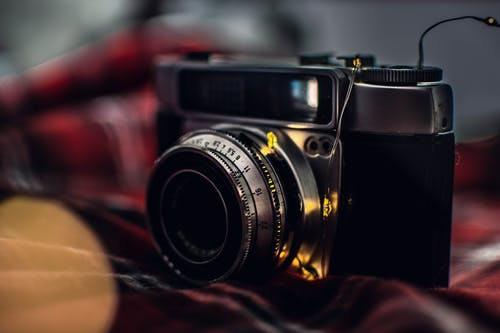 Selective Focus Photography of Black Film Camera