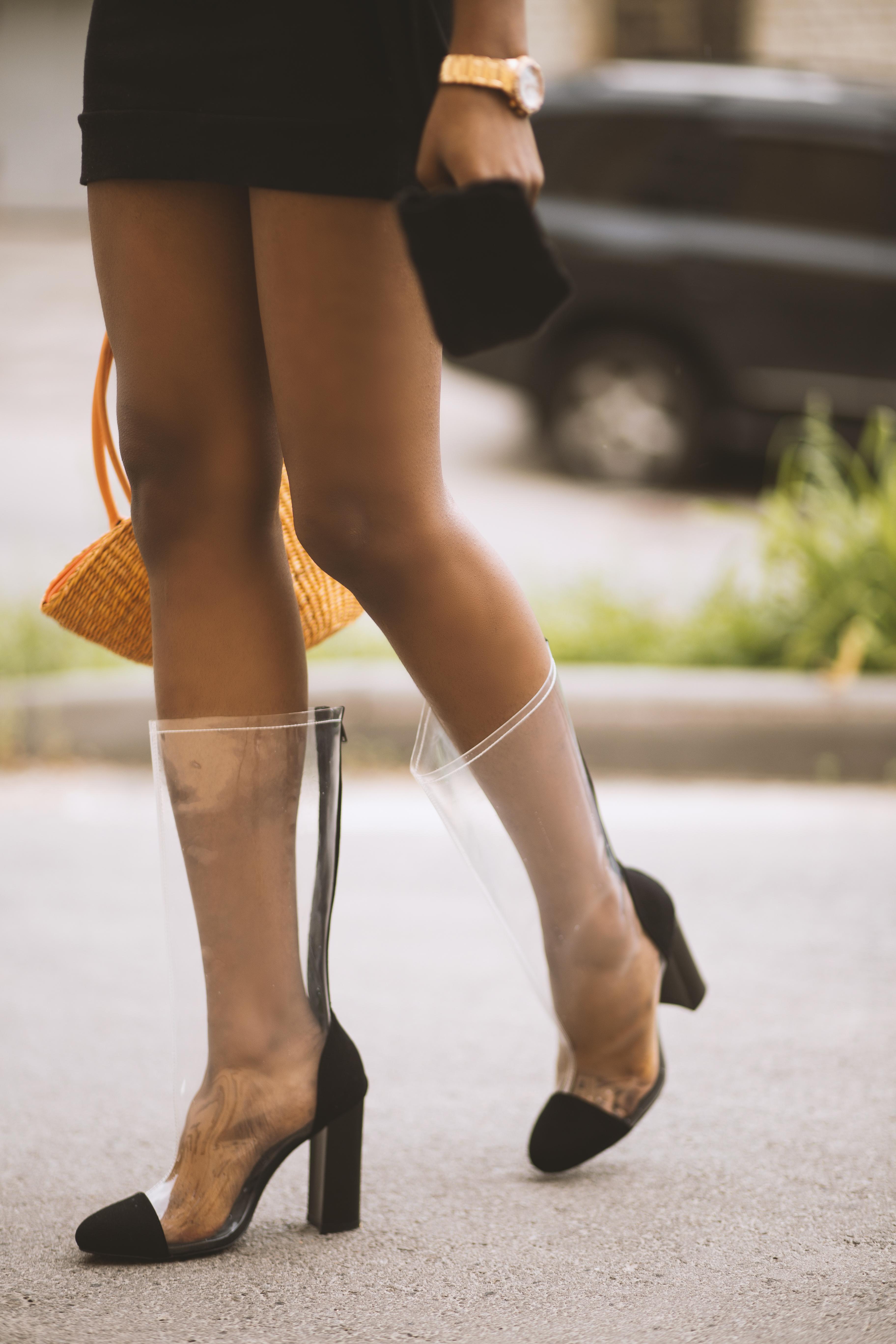 Woman Wearing Clear Plastic Heels