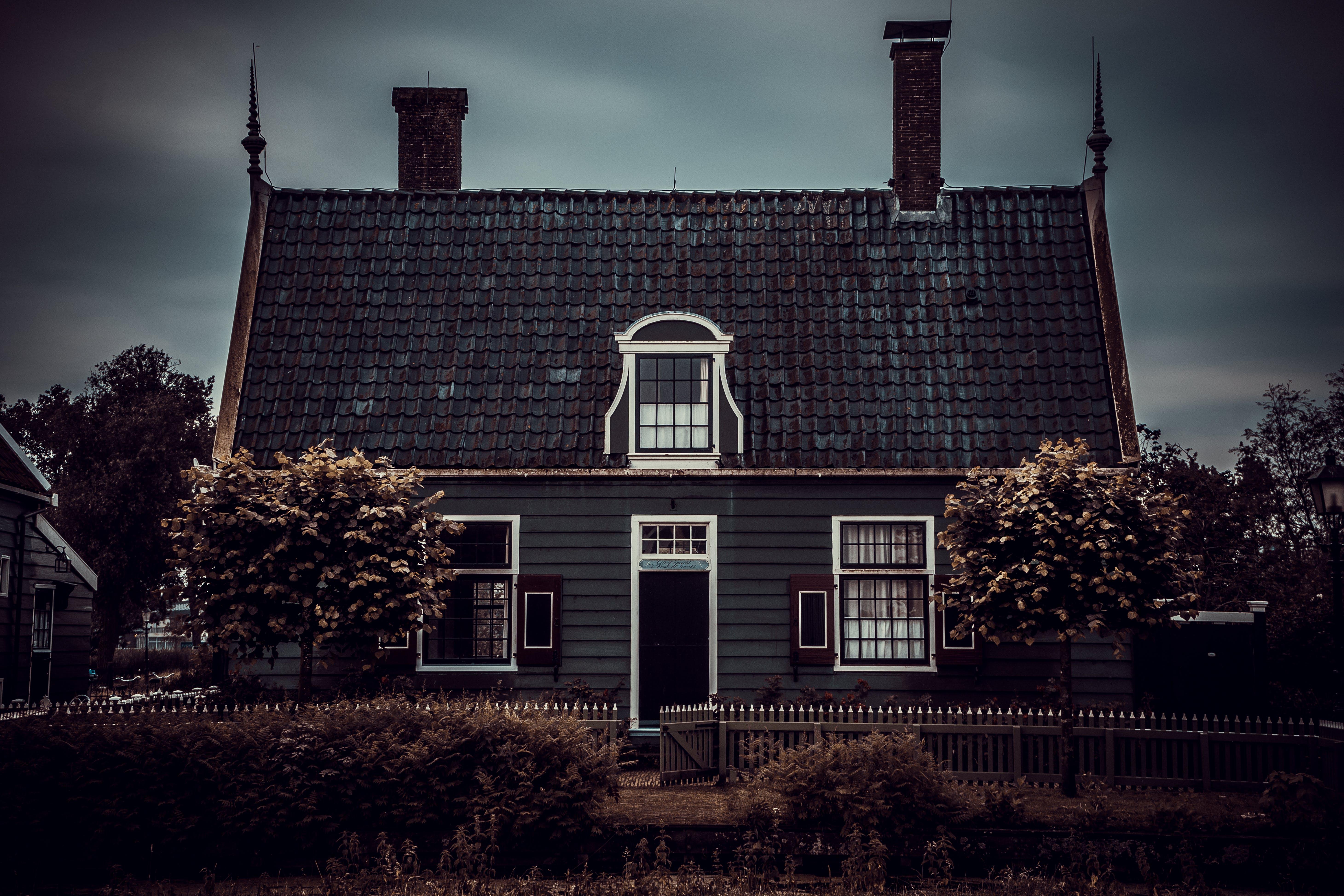 Free stock photo of village, dark, house, fence