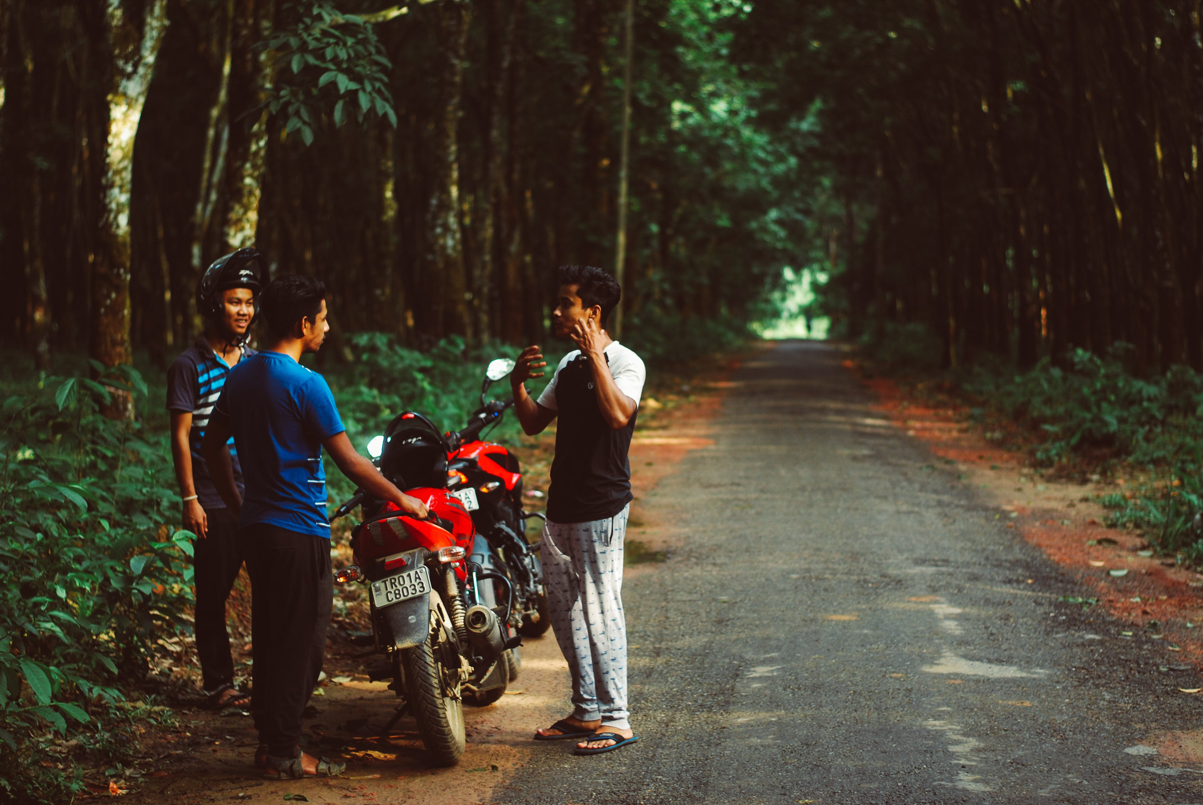 Three Men Standing Beside Red Motorcycle Surrounded With Green Trees