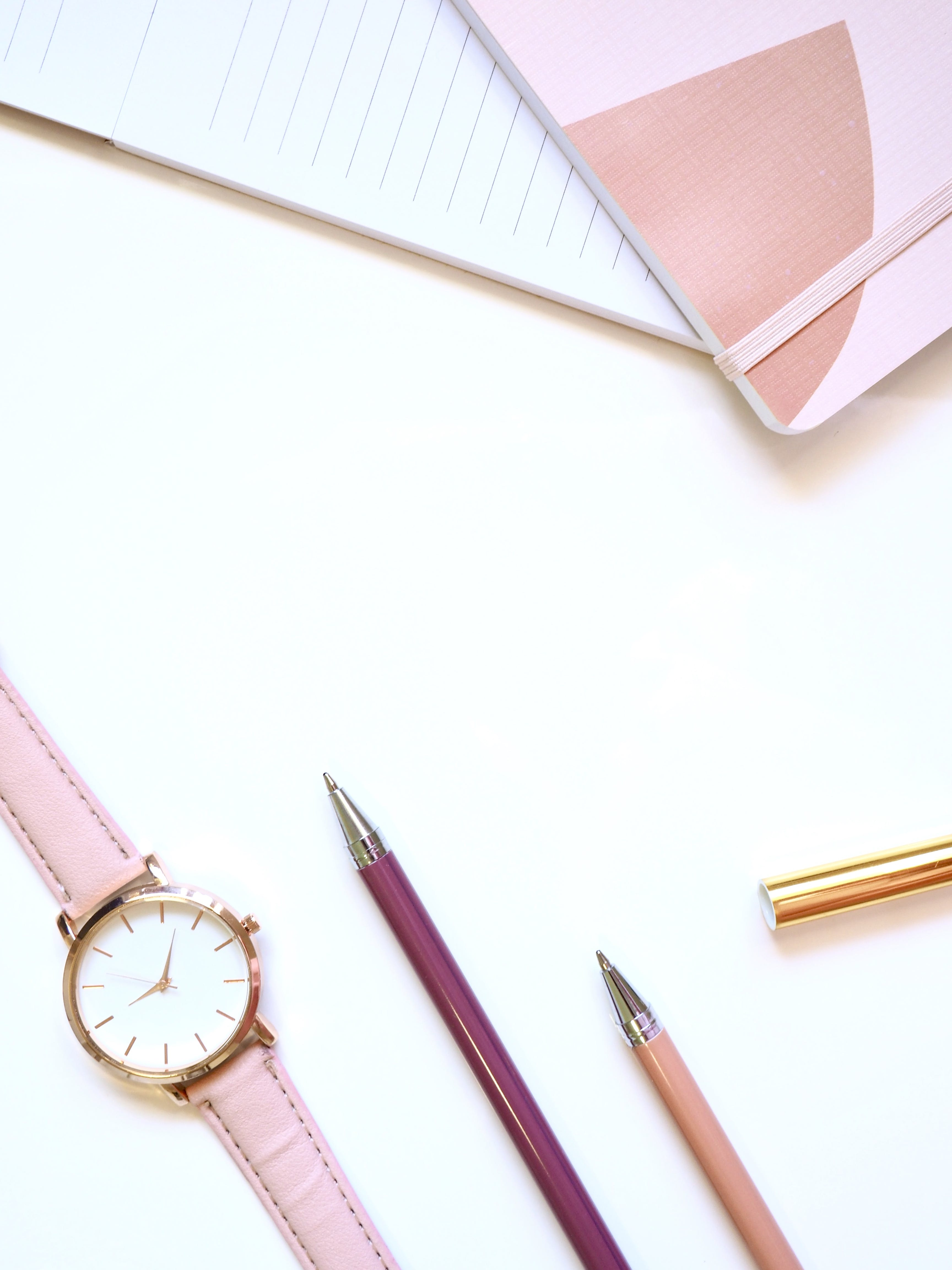 Free stock photo of notebook, wristwatch, pens, pink