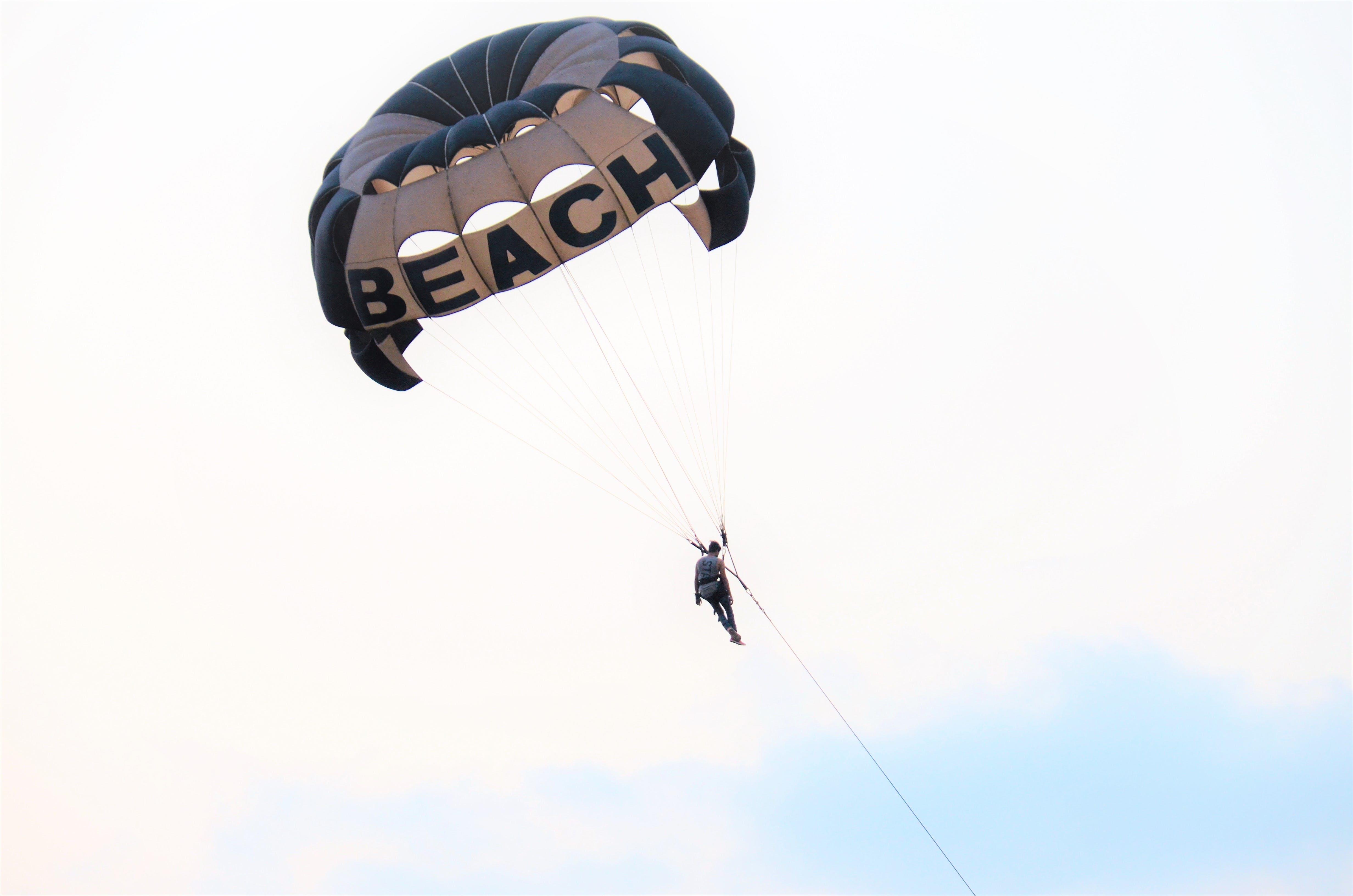 Free stock photo of beach, dusk, paragliding