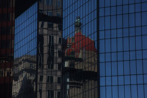 Free stock photo of buildings, city, downtown, mirror