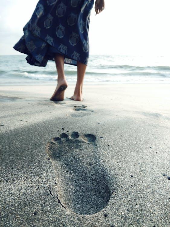 água, andar, areia