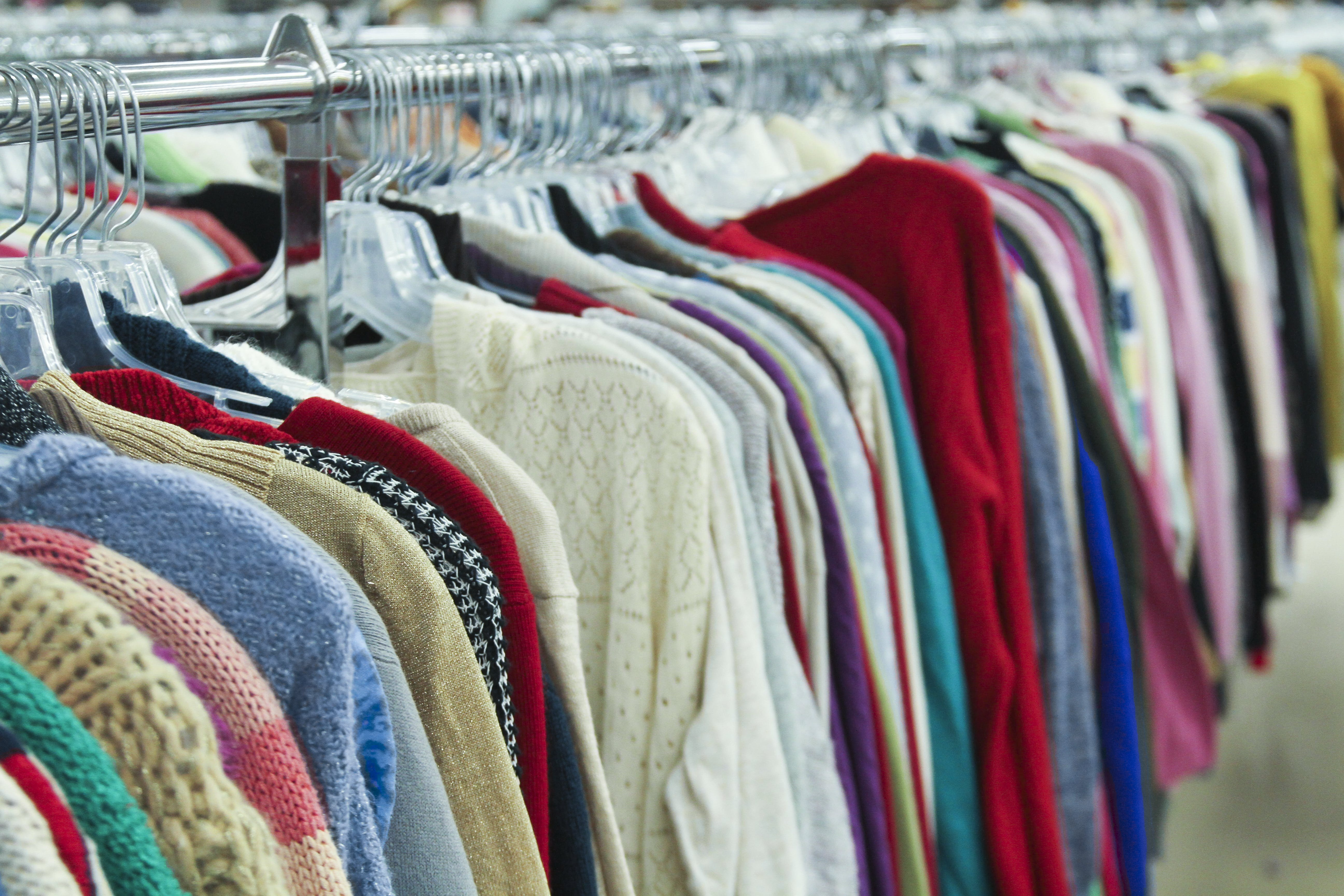 Free stock photo of cardigan, charity, clothes, clothes rack