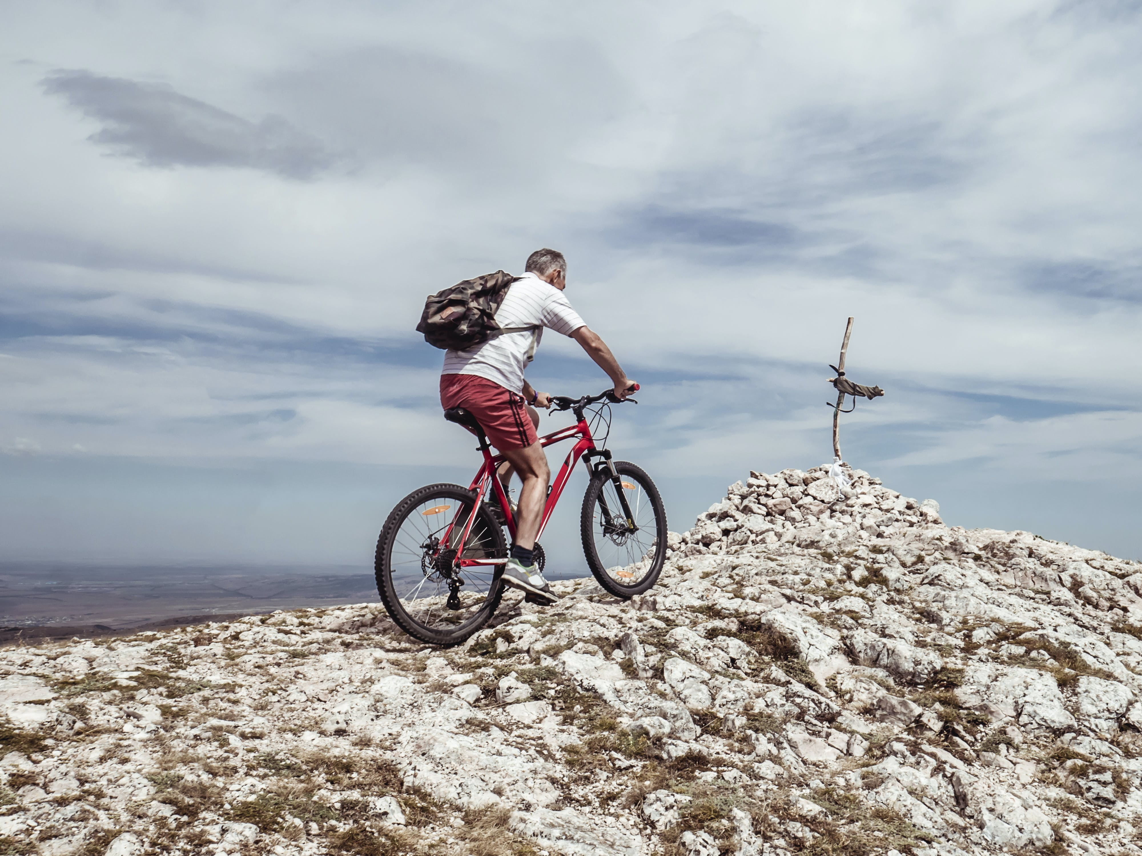 Man Riding Bicycle on Off-road