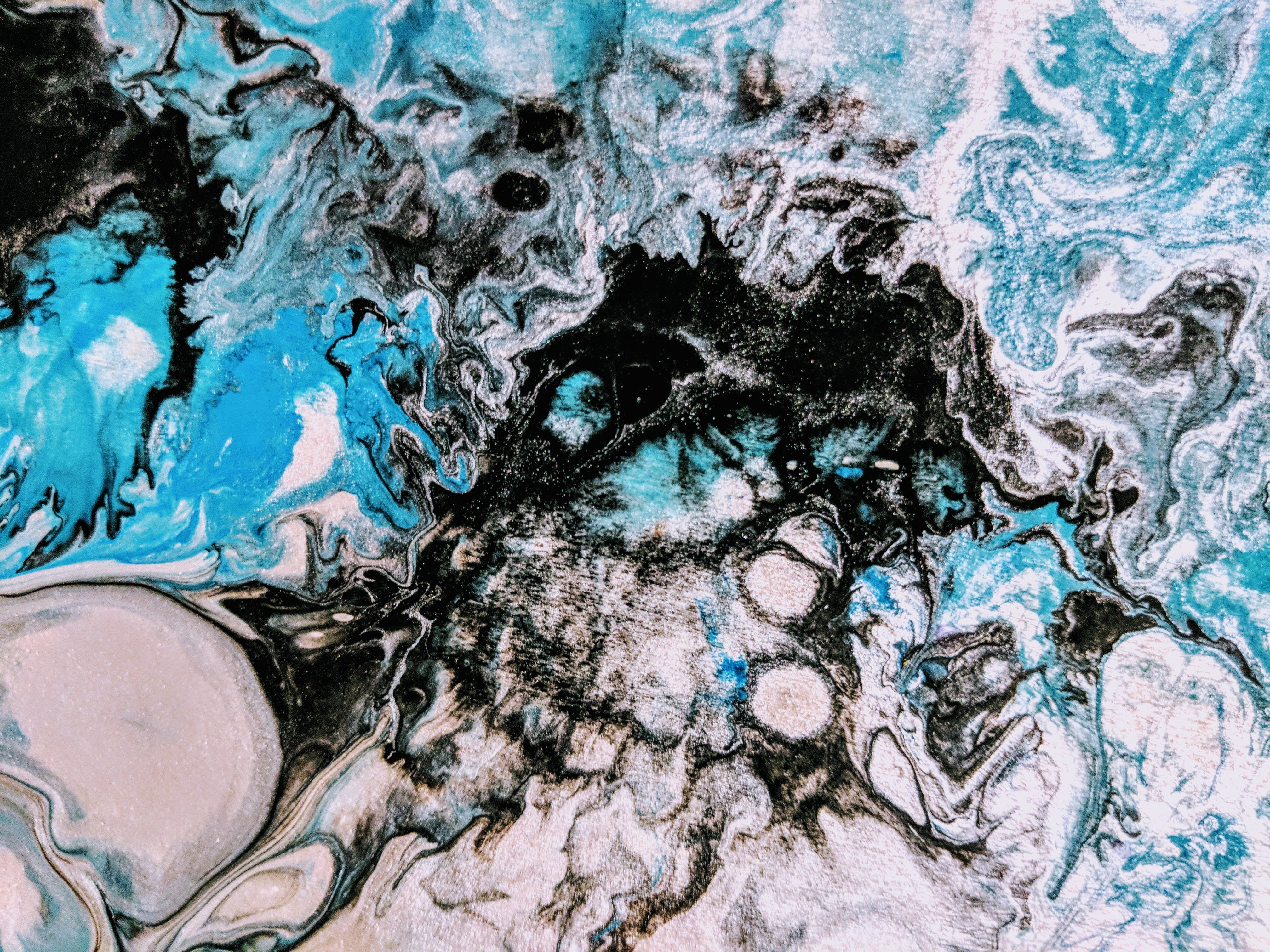 Free stock photo of abstract, black, painting, turquoise